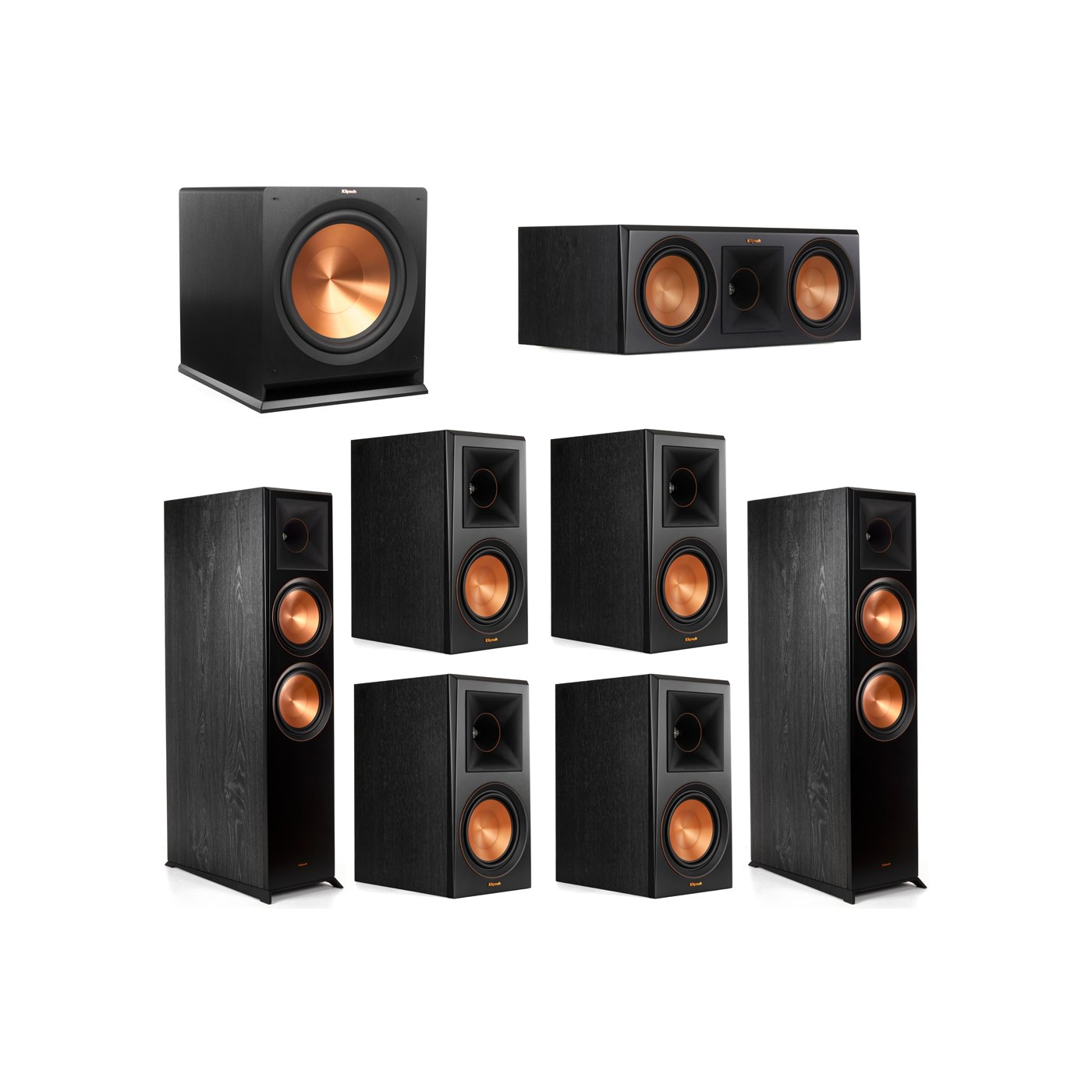 Klipsch 7.1 System with 2 RP-8000F Floorstanding Speakers, 1 Klipsch RP-600C Center Speaker, 4 Klipsch RP-600M Surround Speakers, 1 Klipsch R-115SW Subwoofer