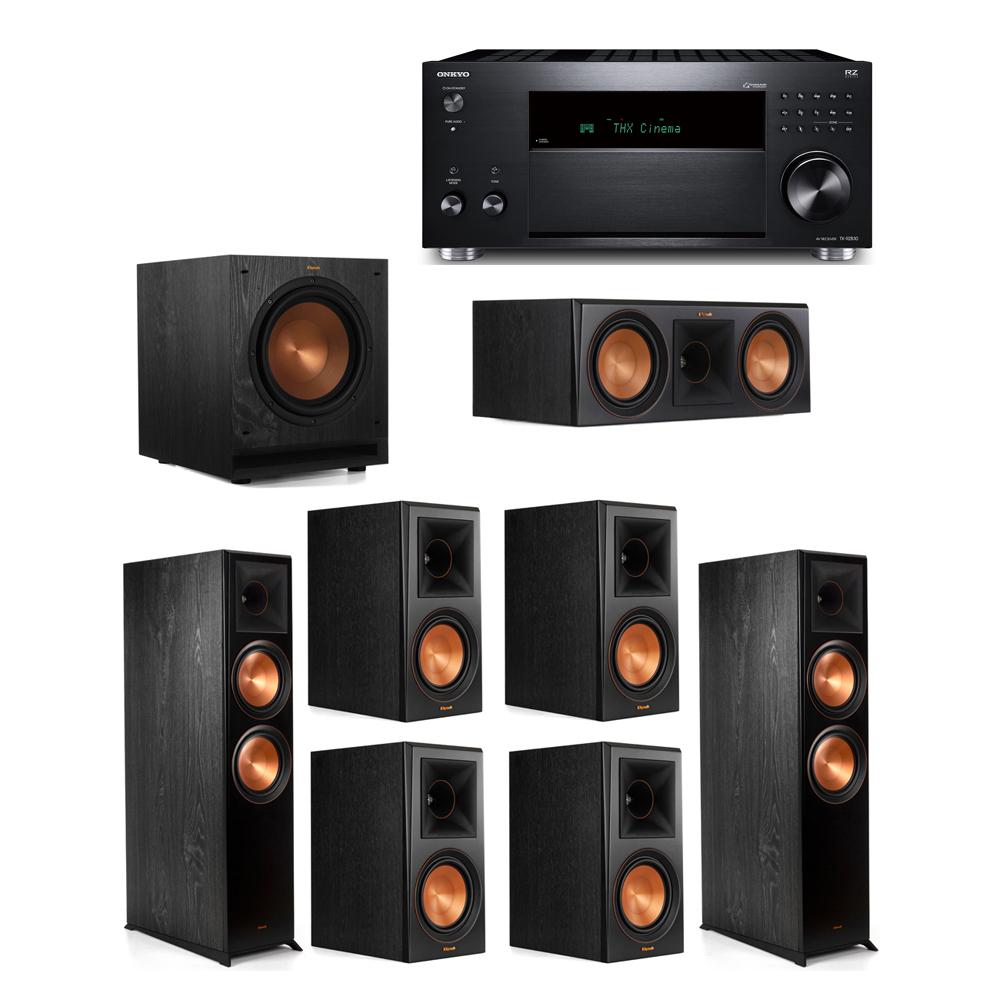 Klipsch 7.1 System with 2 RP-8000F, 1 RP-600C, 4 RP-600M, 1 SPL-100, 1 Onkyo TX-RZ830 Receiver