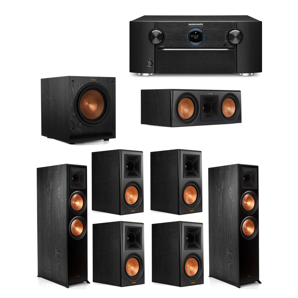 Klipsch 7.1 System with 2 RP-8000F Floorstanding Speakers, 1 Klipsch RP-600C Center Speaker, 4 Klipsch RP-600M Surround Speakers, 1 Klipsch SPL-100 Subwoofer, 1 Marantz SR7012 A/V Receiver