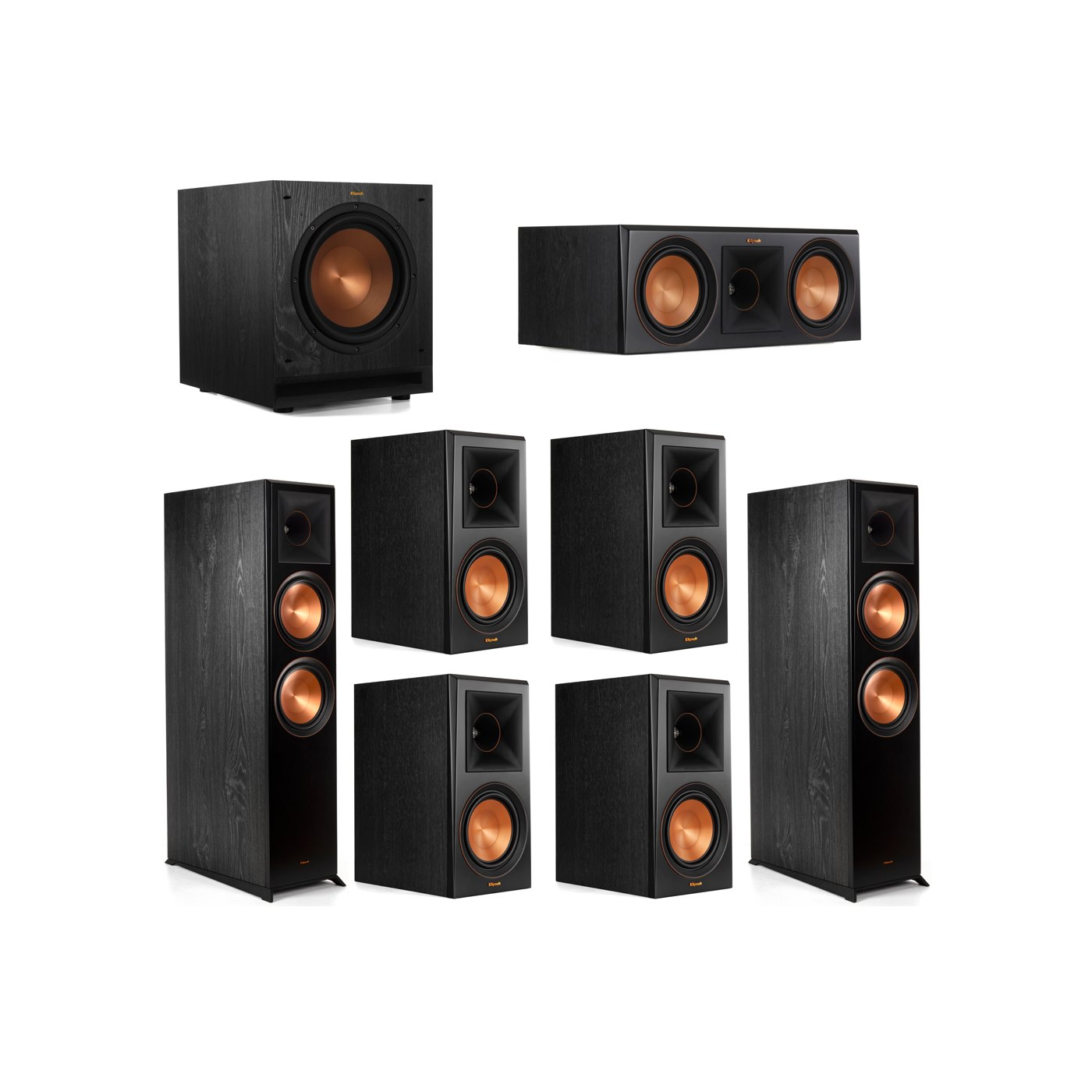 Klipsch 7.1 System with 2 RP-8000F Floorstanding Speakers, 1 Klipsch RP-600C Center Speaker, 4 Klipsch RP-600M Surround Speakers, 1 Klipsch SPL-100 Subwoofer