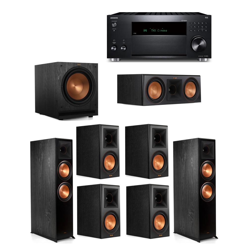 Klipsch 7.1 System with 2 RP-8000F, 1 RP-600C, 4 RP-600M, 1 SPL-120, 1 Onkyo TX-RZ830 Receiver