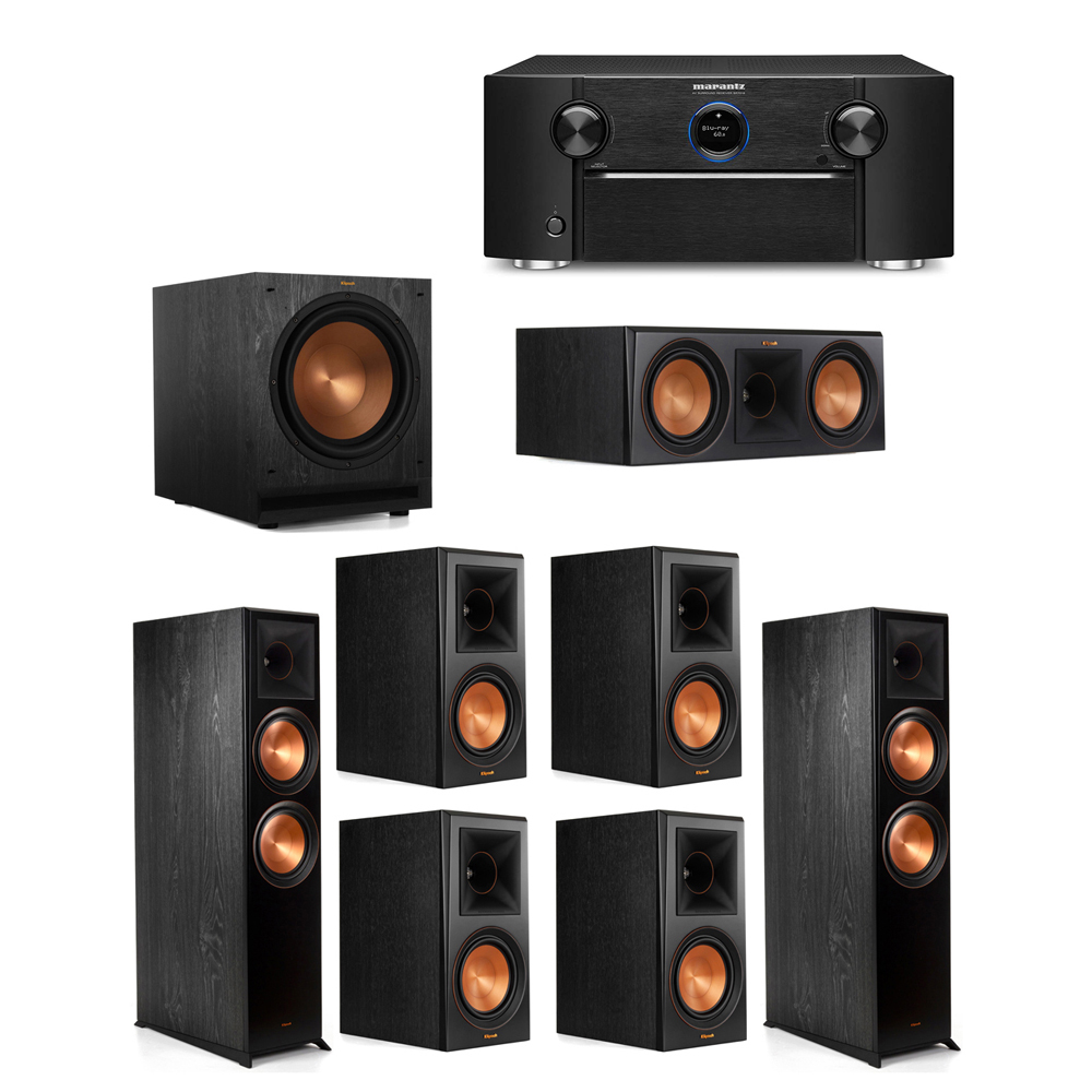 Klipsch 7.1 System with 2 RP-8000F Floorstanding Speakers, 1 Klipsch RP-600C Center Speaker, 4 Klipsch RP-600M Surround Speakers, 1 Klipsch SPL-120 Subwoofer, 1 Marantz SR7012 A/V Receiver
