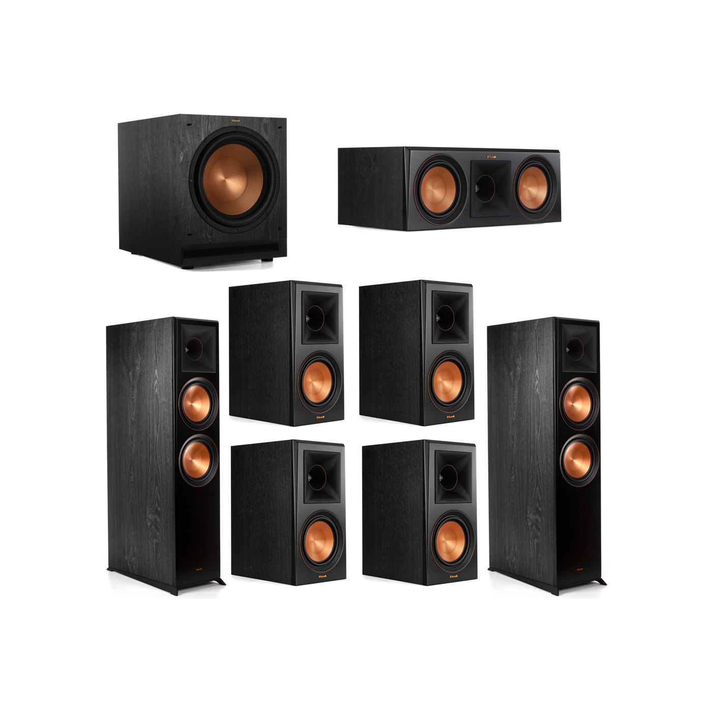 Klipsch 7.1 System with 2 RP-8000F Floorstanding Speakers, 1 Klipsch RP-600C Center Speaker, 4 Klipsch RP-600M Surround Speakers, 1 Klipsch SPL-120 Subwoofer