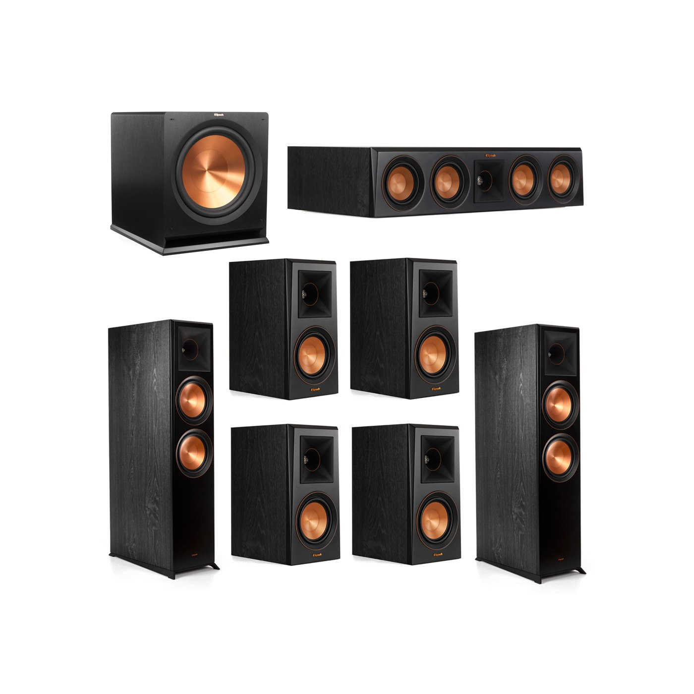 Klipsch 7.1.2 System - 2 RP-8060FA Dolby Atmos Speakers, 1 RP-404C, 4 RP-500M Speakers, 1 R-115SW
