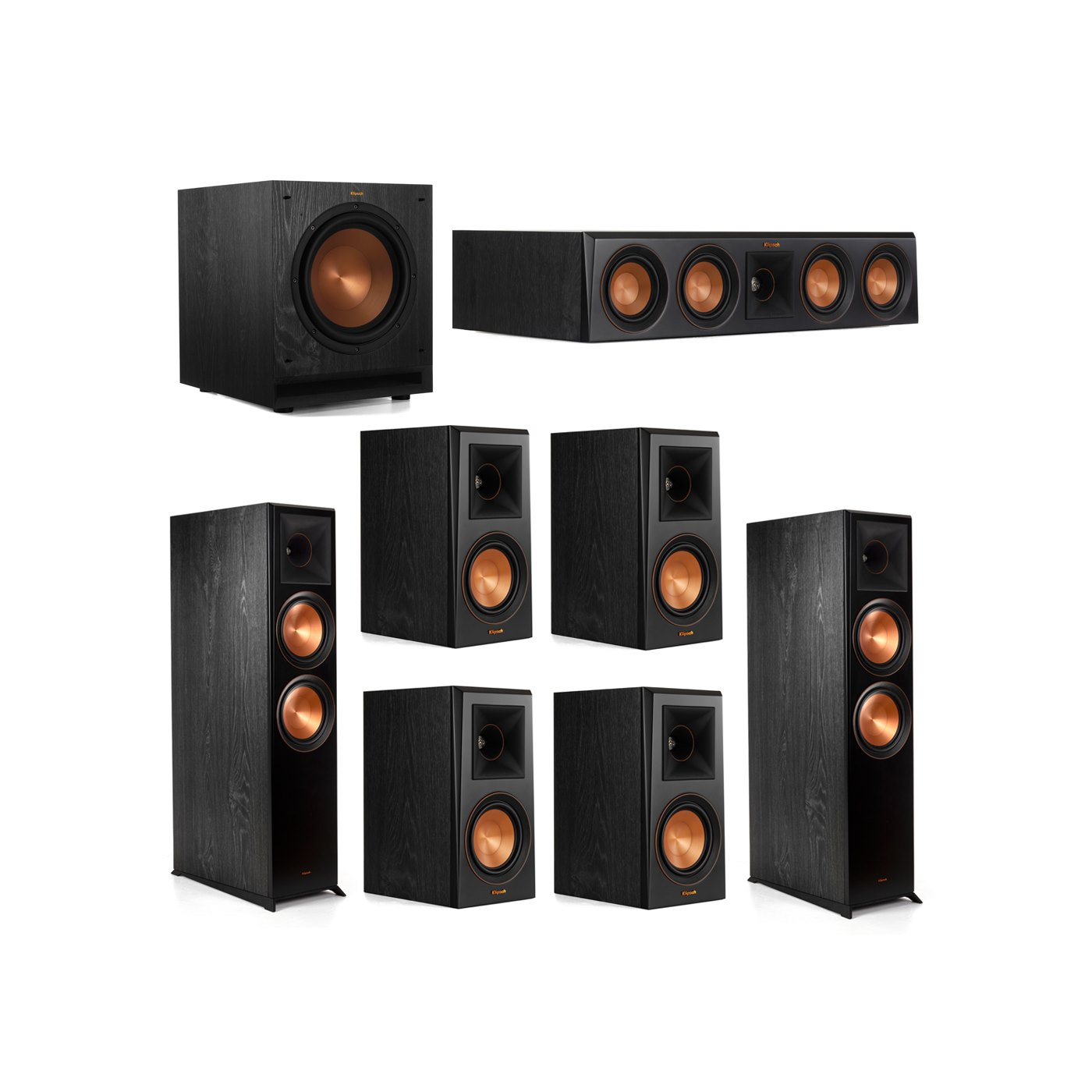 Klipsch 7.1.2 System - 2 RP-8060FA Dolby Atmos Speakers, 1 RP-404C, 4 RP-500M Speakers, 1 SPL-100