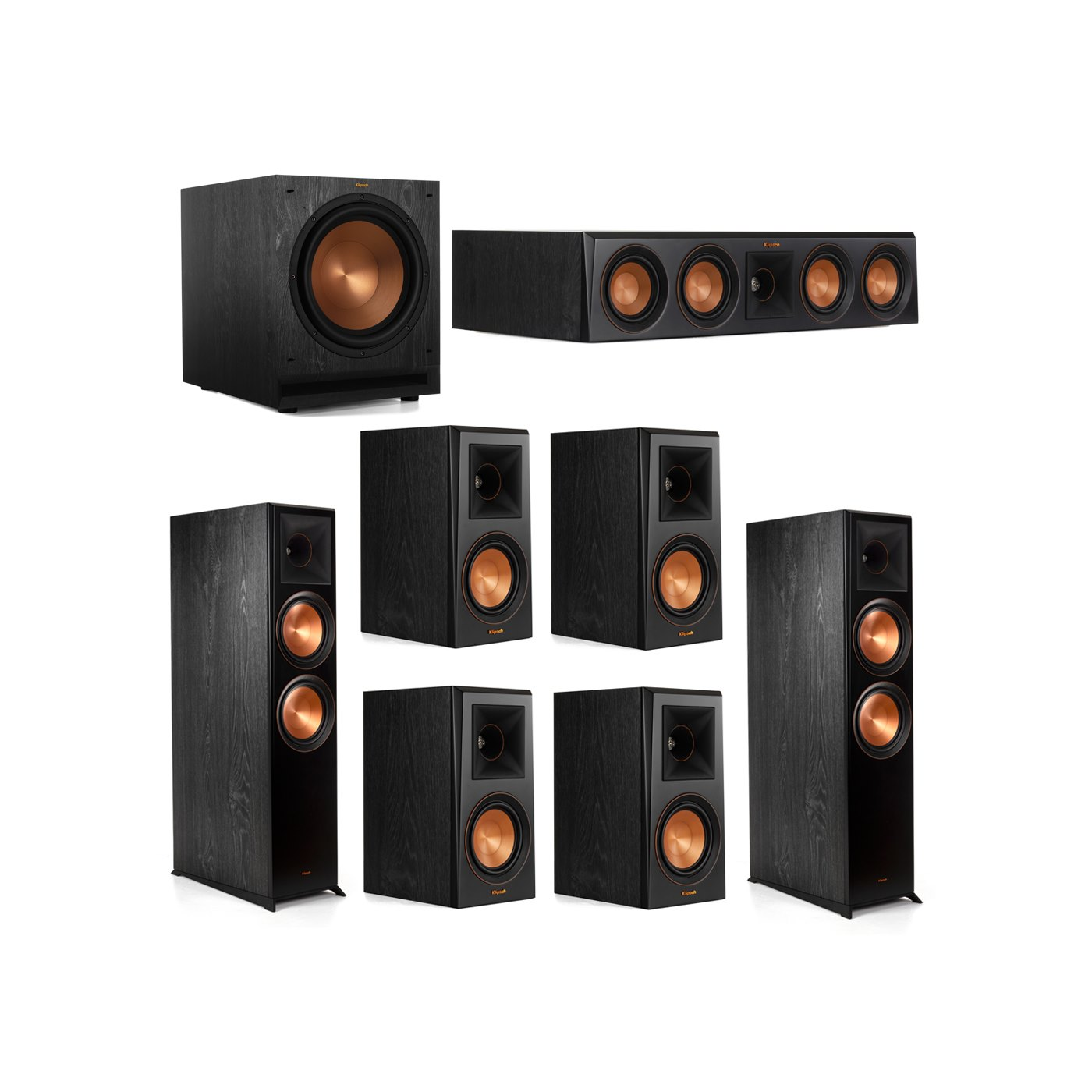 Klipsch 7.1.2 System - 2 RP-8060FA Dolby Atmos Speakers, 1 RP-404C, 4 RP-500M Speakers, 1 SPL-120