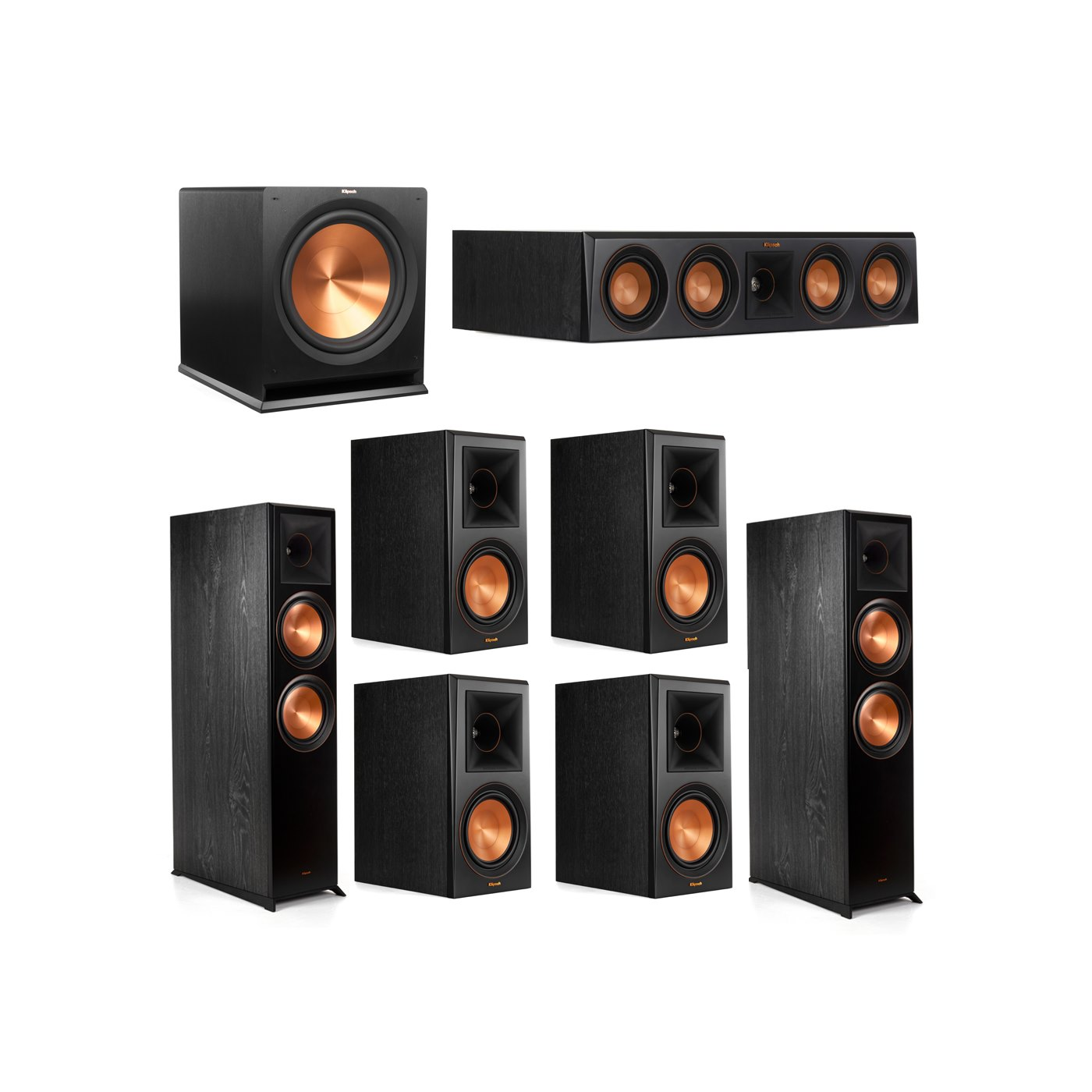 Klipsch 7.1.2 System - 2 RP-8060FA Dolby Atmos Speakers, 1 RP-404C, 4 RP-600M Speakers, 1 R-115SW