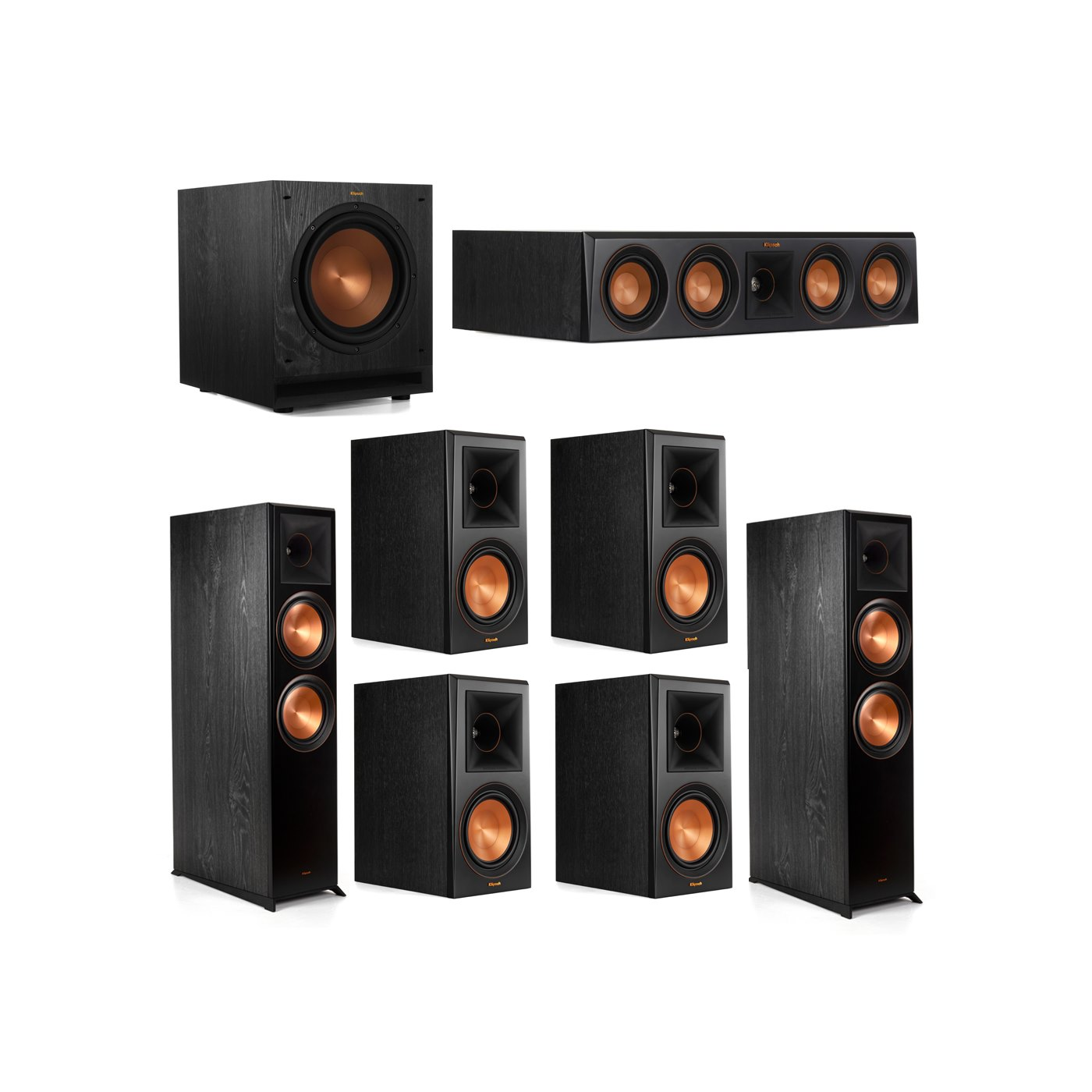 Klipsch 7.1.2 System - 2 RP-8060FA Dolby Atmos Speakers, 1 RP-404C, 4 RP-600M Speakers, 1 SPL-100