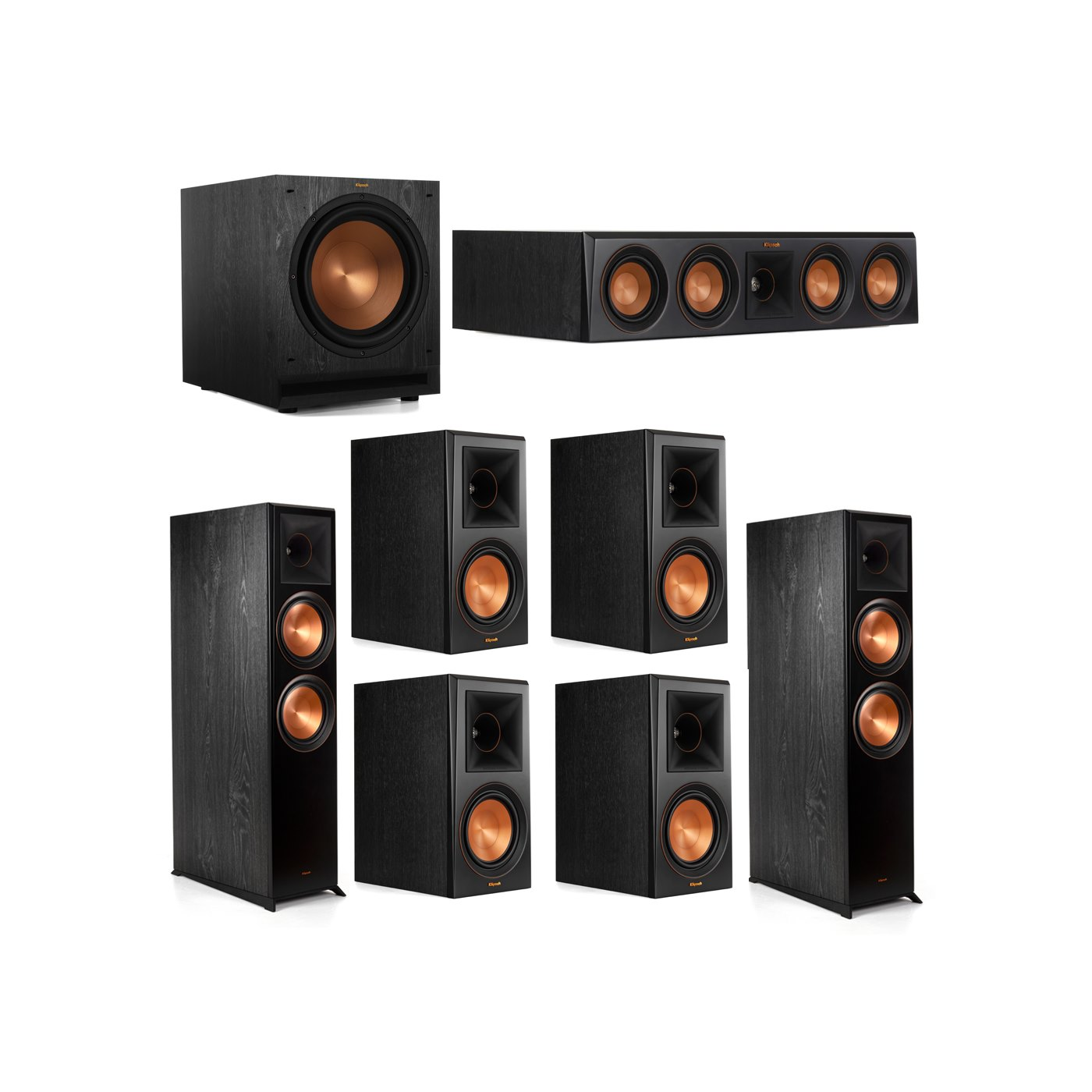 Klipsch 7.1.2 System - 2 RP-8060FA Dolby Atmos Speakers, 1 RP-404C, 4 RP-600M Speakers, 1 SPL-120