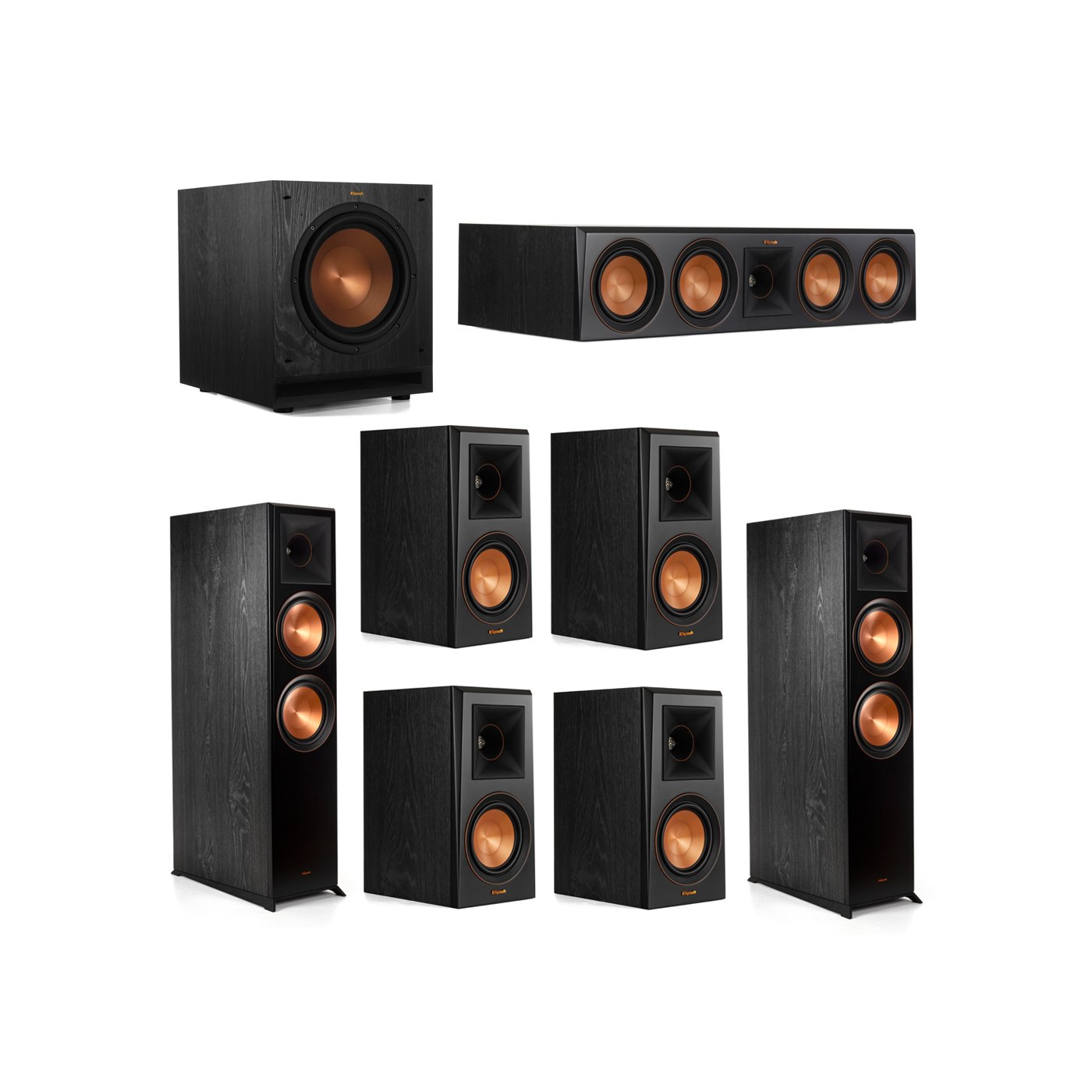 Klipsch 7.1.2 System - 2 RP-8060FA Dolby Atmos Speakers, 1 RP-504C, 4 RP-500M Speakers, 1 SPL-100