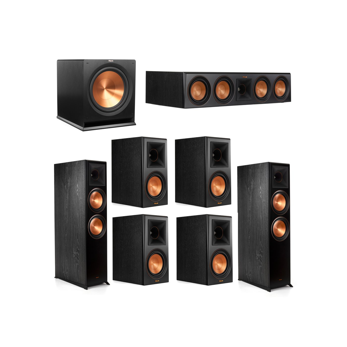 Klipsch 7.1.2 System - 2 RP-8060FA Dolby Atmos Speakers, 1 RP-504C, 4 RP-600M Speakers, 1 R-115SW