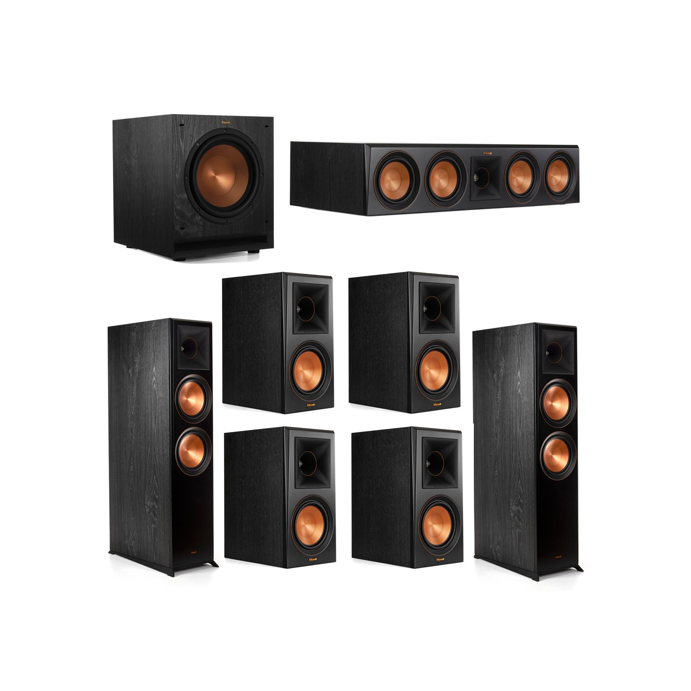 Klipsch 7.1.2 System - 2 RP-8060FA Dolby Atmos Speakers, 1 RP-504C, 4 RP-600M Speakers, 1 SPL-100