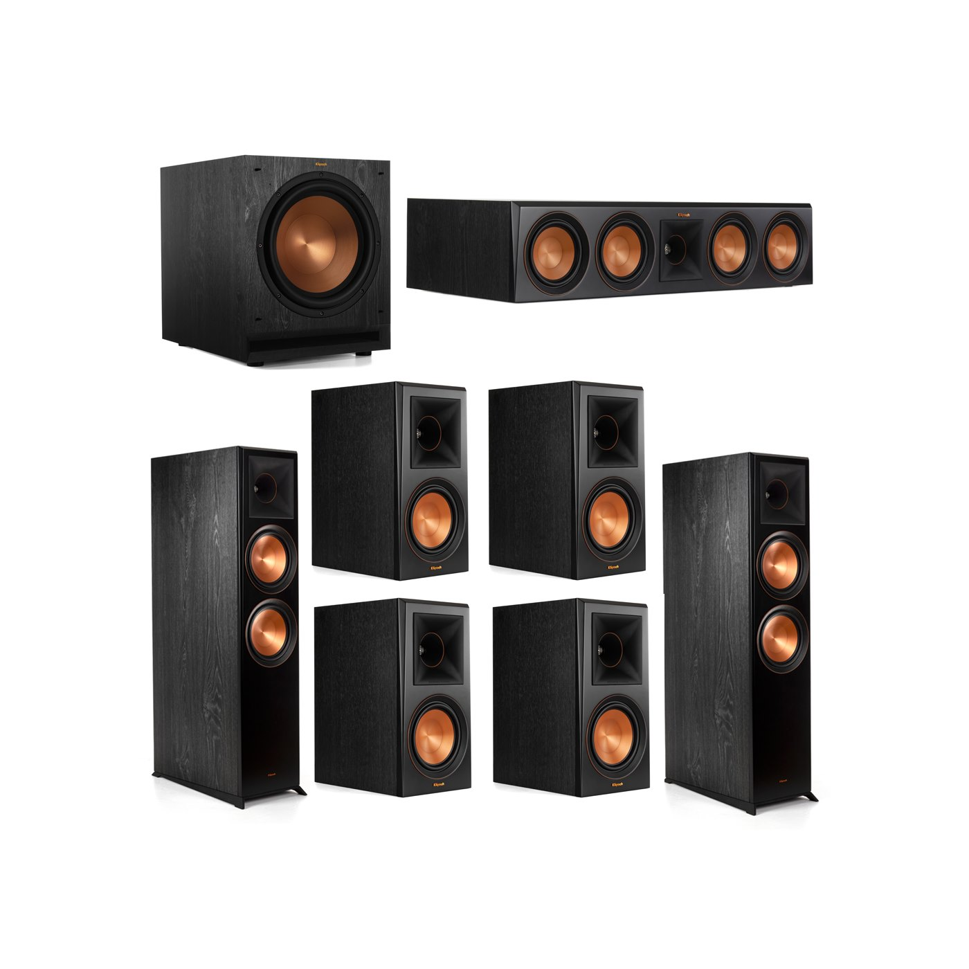 Klipsch 7.1.2 System - 2 RP-8060FA Dolby Atmos Speakers, 1 RP-504C, 4 RP-600M Speakers, 1 SPL-120