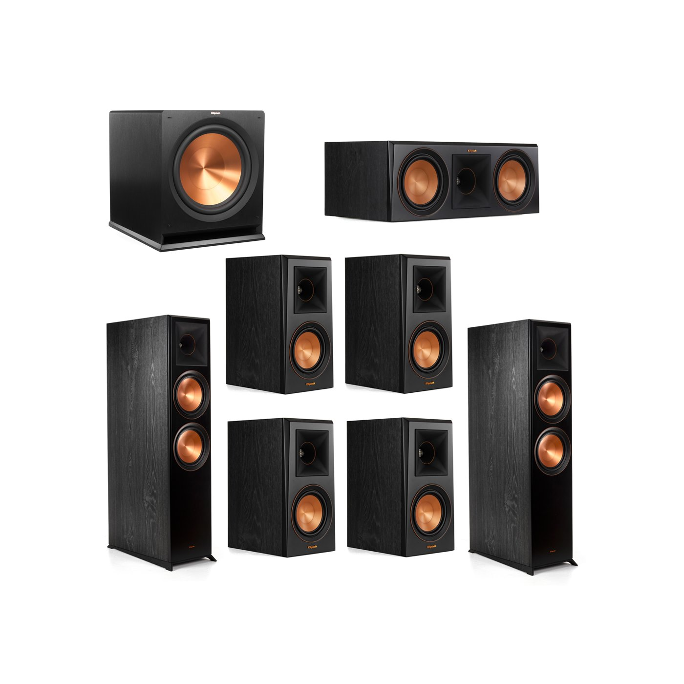 Klipsch 7.1.2 System - 2 RP-8060FA Dolby Atmos Speakers, 1 RP-600C, 4 RP-500M Speakers, 1 R-115SW
