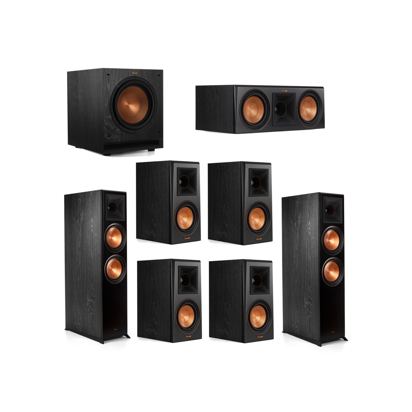 Klipsch 7.1.2 System - 2 RP-8060FA Dolby Atmos Speakers, 1 RP-600C, 4 RP-500M Speakers, 1 SPL-100