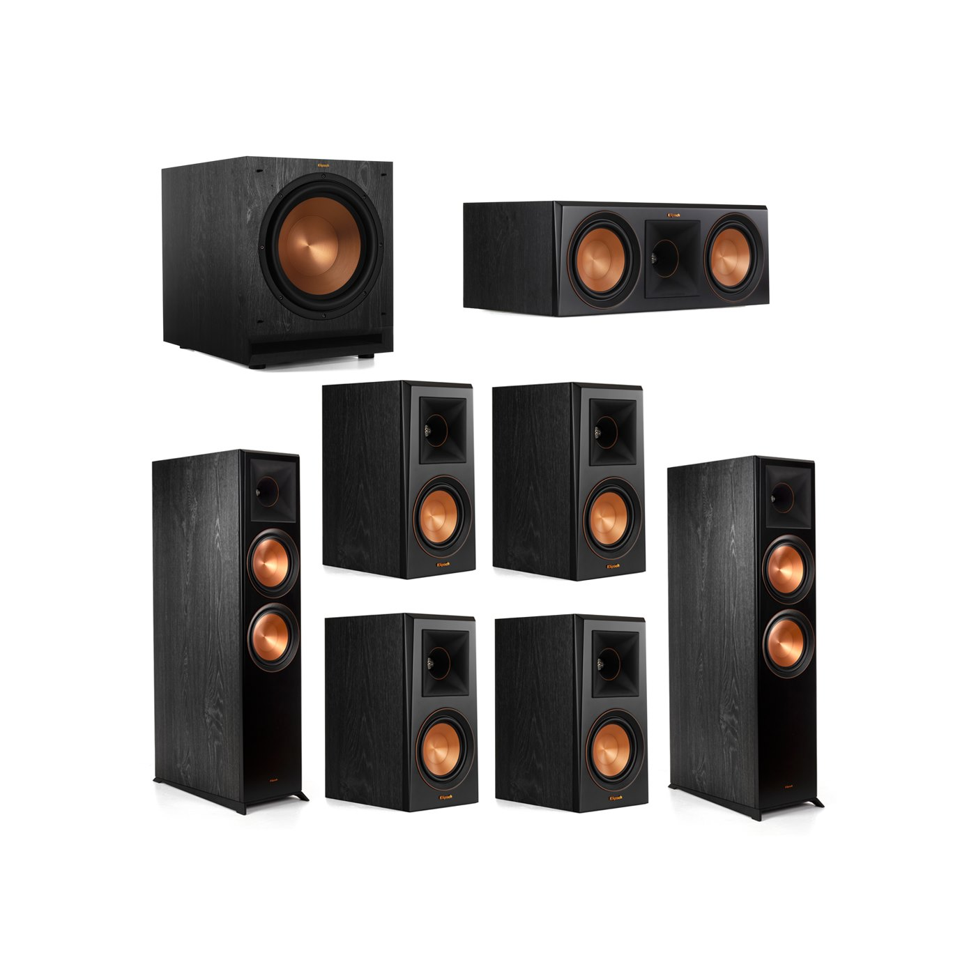 Klipsch 7.1.2 System - 2 RP-8060FA Dolby Atmos Speakers, 1 RP-600C, 4 RP-500M Speakers, 1 SPL-120