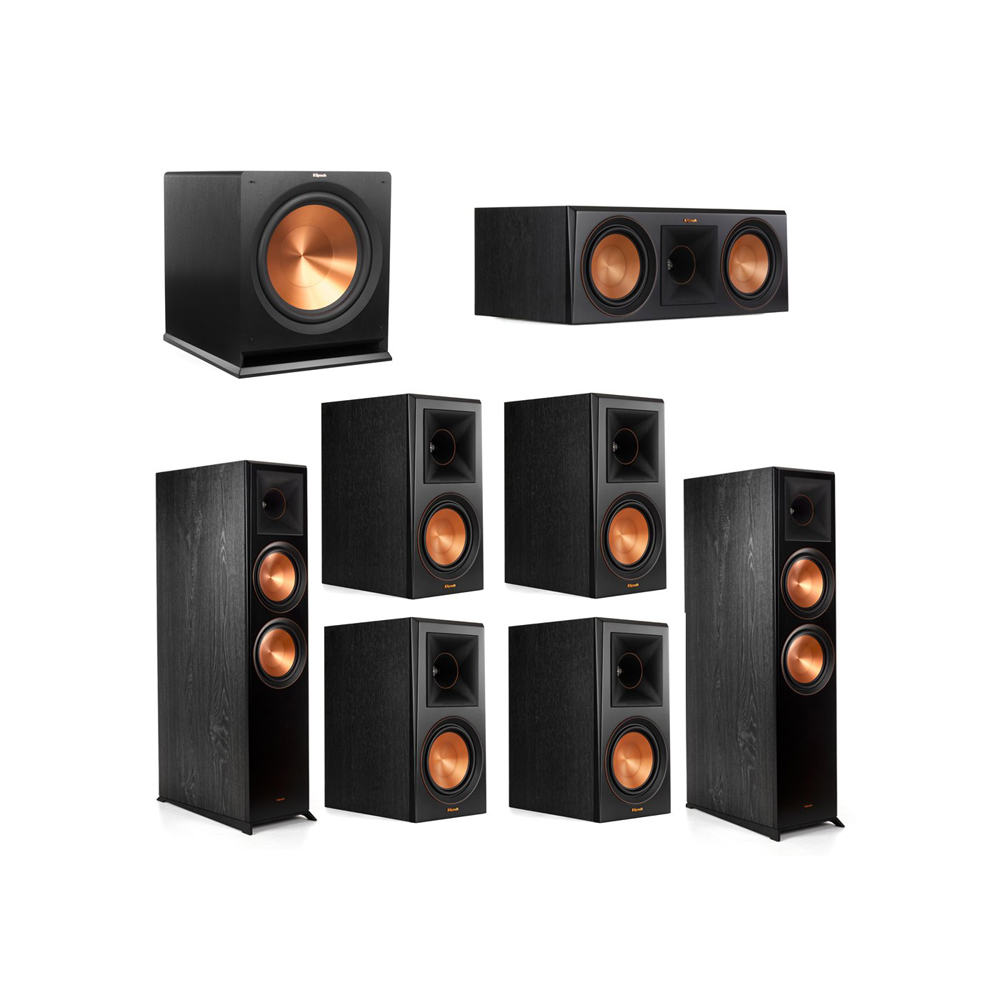 Klipsch 7.1.2 System - 2 RP-8060FA Dolby Atmos Speakers, 1 RP-600C, 4 RP-600M Speakers, 1 R-115SW