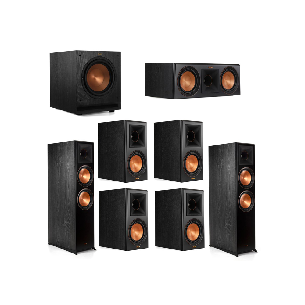 Klipsch 7.1.2 System - 2 RP-8060FA Dolby Atmos Speakers, 1 RP-600C, 4 RP-600M Speakers, 1 SPL-100
