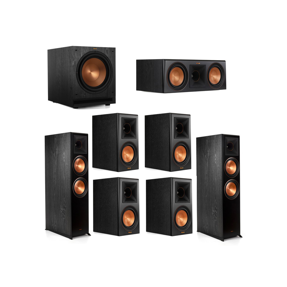 Klipsch 7.1.2 System - 2 RP-8060FA Dolby Atmos Speakers, 1 RP-600C, 4 RP-600M Speakers, 1 SPL-120
