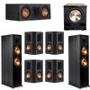 Klipsch 7.1 Ebony System - 2 RP-8000F, 1 RP-500C, 4 RP-502S, 1 PL-200II