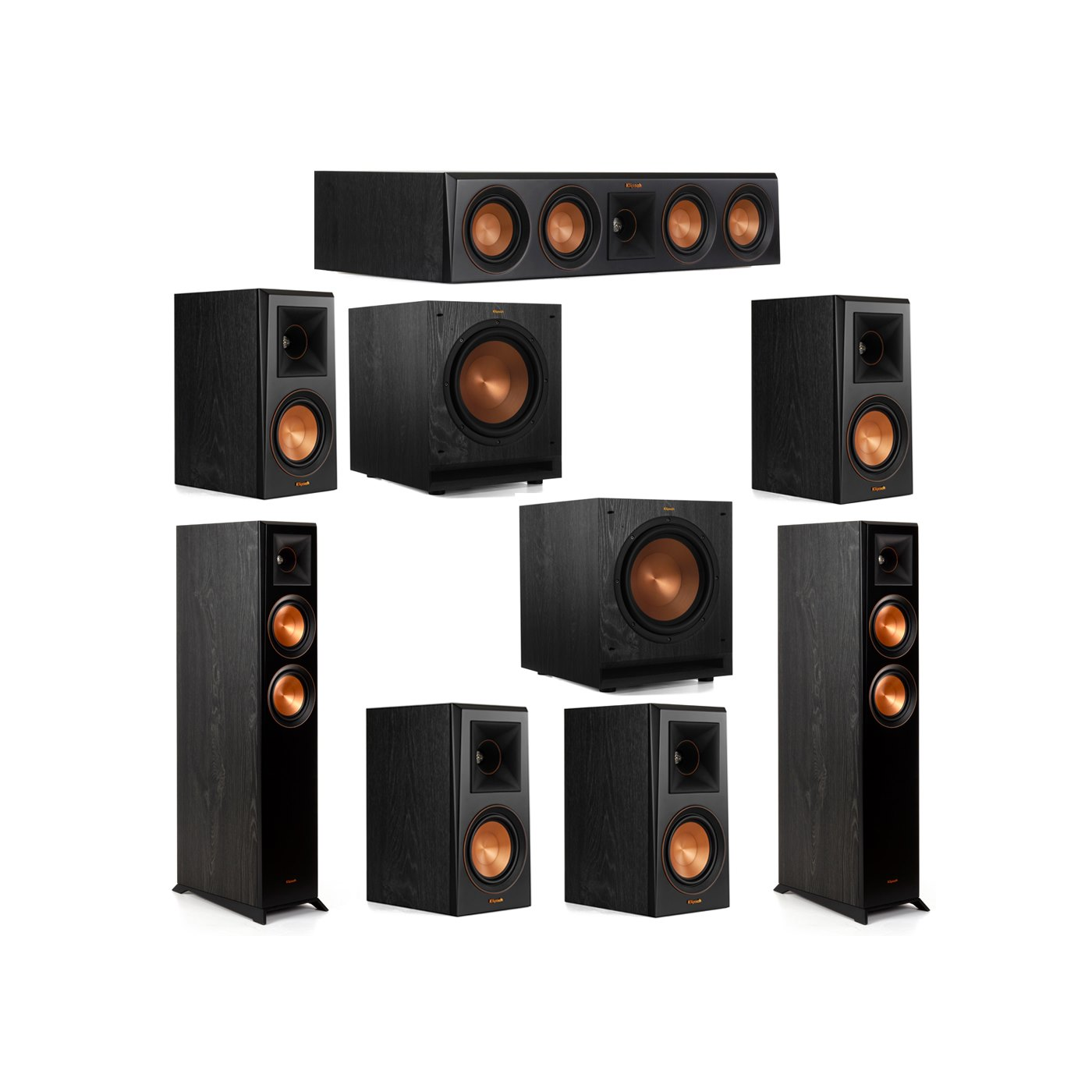 Klipsch 7.2 System with 2 RP-5000F Floorstanding Speakers, 1 Klipsch RP-404C Center Speaker, 4 Klipsch RP-500M Surround Speakers, 2 Klipsch SPL-100 Subwoofers