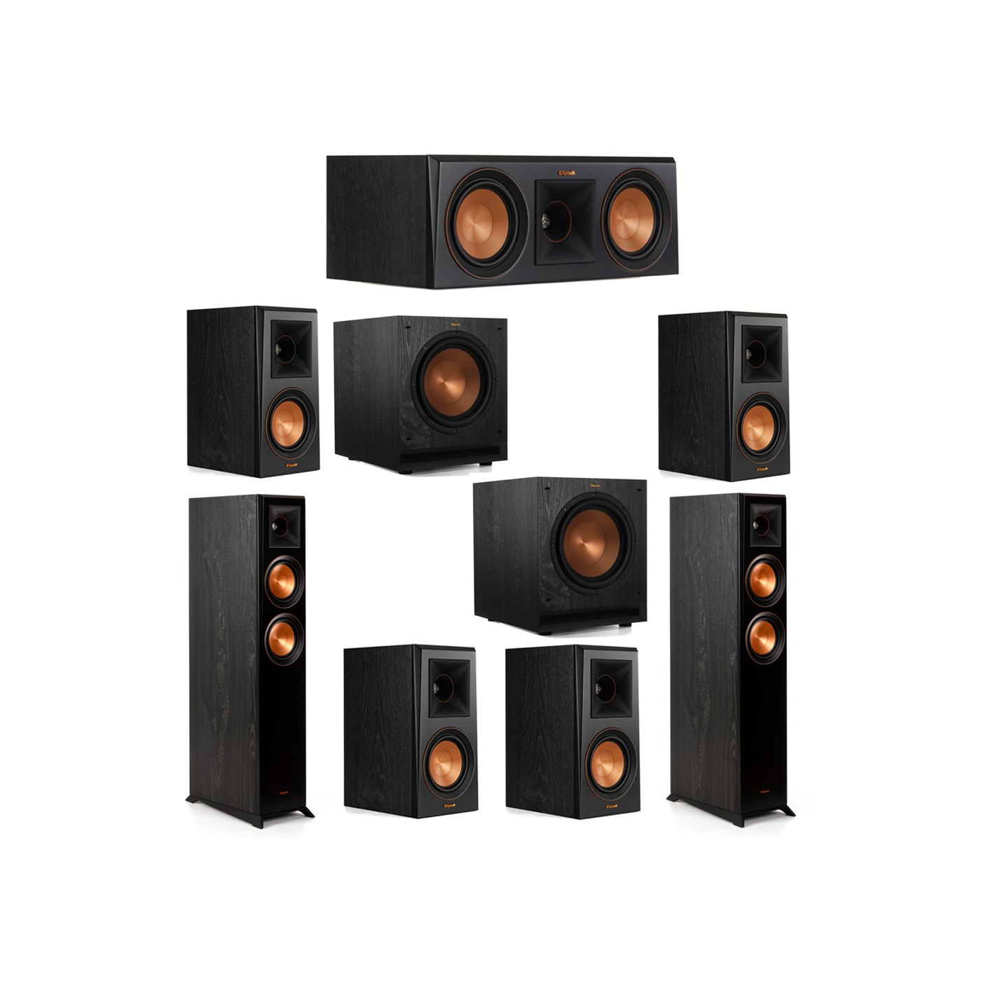 Klipsch 7.2 System with 2 RP-5000F Floorstanding Speakers, 1 Klipsch RP-500C Center Speaker, 4 Klipsch RP-500M Surround Speakers, 2 Klipsch SPL-100 Subwoofers