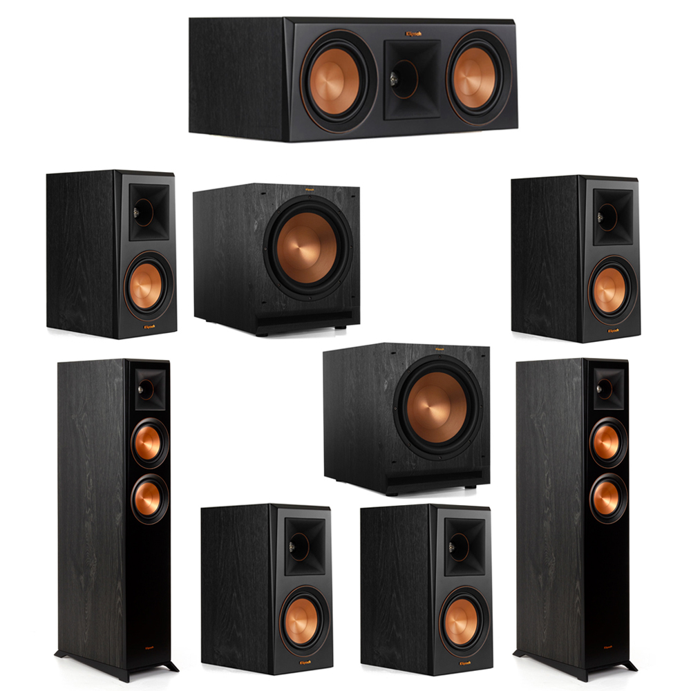 Klipsch 7.2 System with 2 RP-5000F Floorstanding Speakers, 1 Klipsch RP-500C Center Speaker, 4 Klipsch RP-500M Surround Speakers, 2 Klipsch SPL-120 Subwoofers