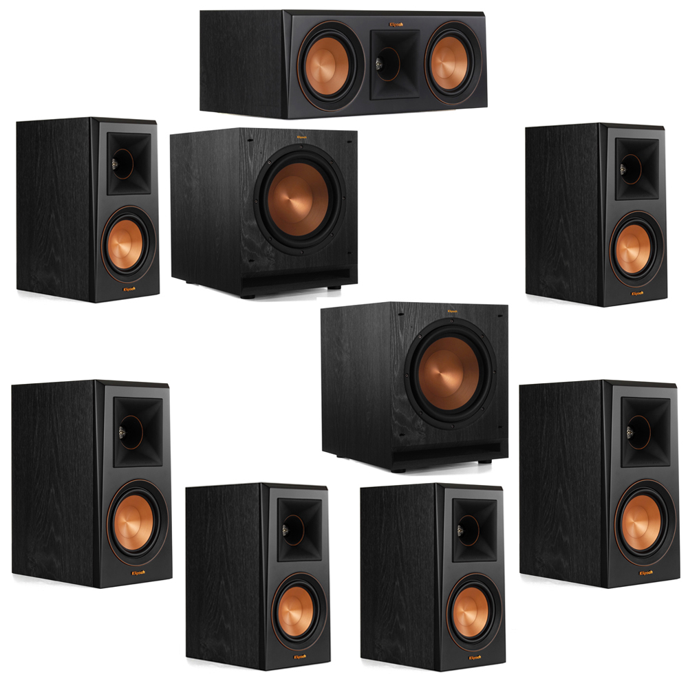 Klipsch 7.2 System with 2 RP-500M Bookshelf Speakers, 1 Klipsch RP-500C Center Speaker, 4 Klipsch RP-500M Surround Speakers, 2 Klipsch SPL-100 Subwoofers