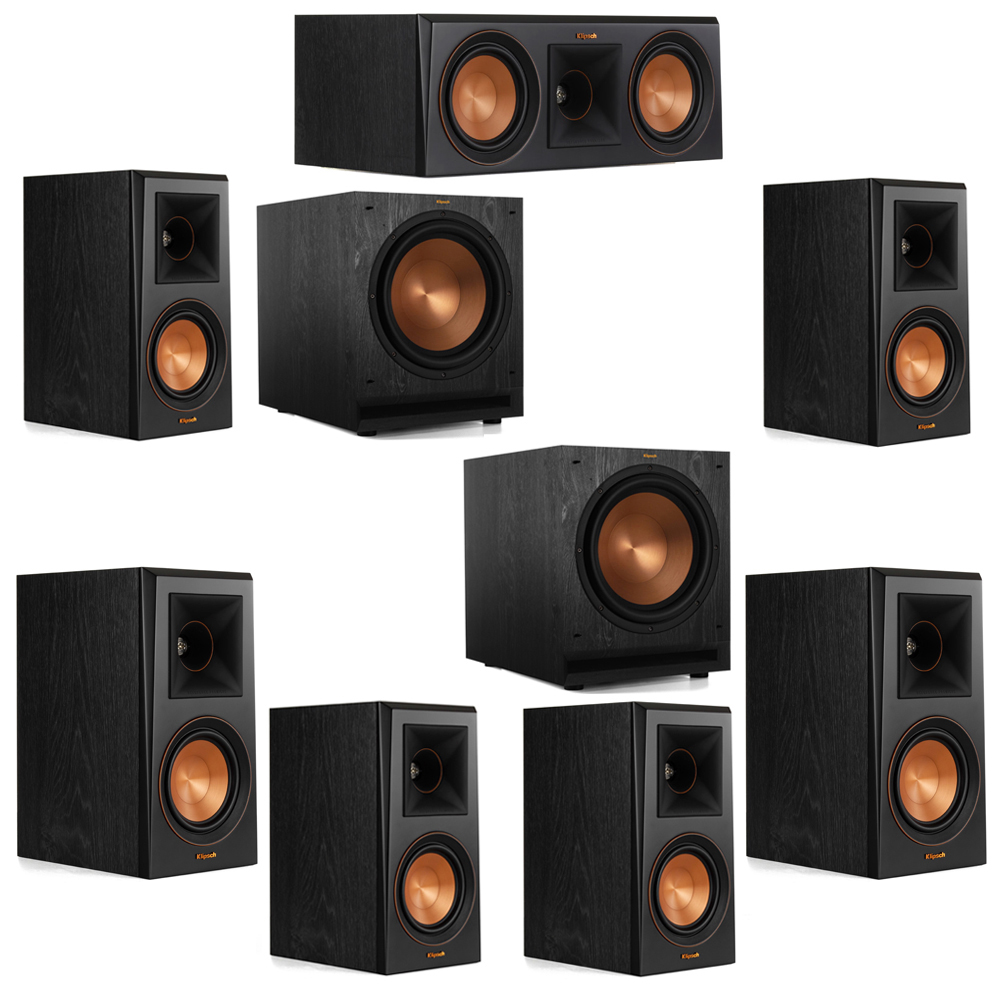 Klipsch 7.2 System with 2 RP-500M Bookshelf Speakers, 1 Klipsch RP-500C Center Speaker, 4 Klipsch RP-500M Surround Speakers, 2 Klipsch SPL-120 Subwoofers