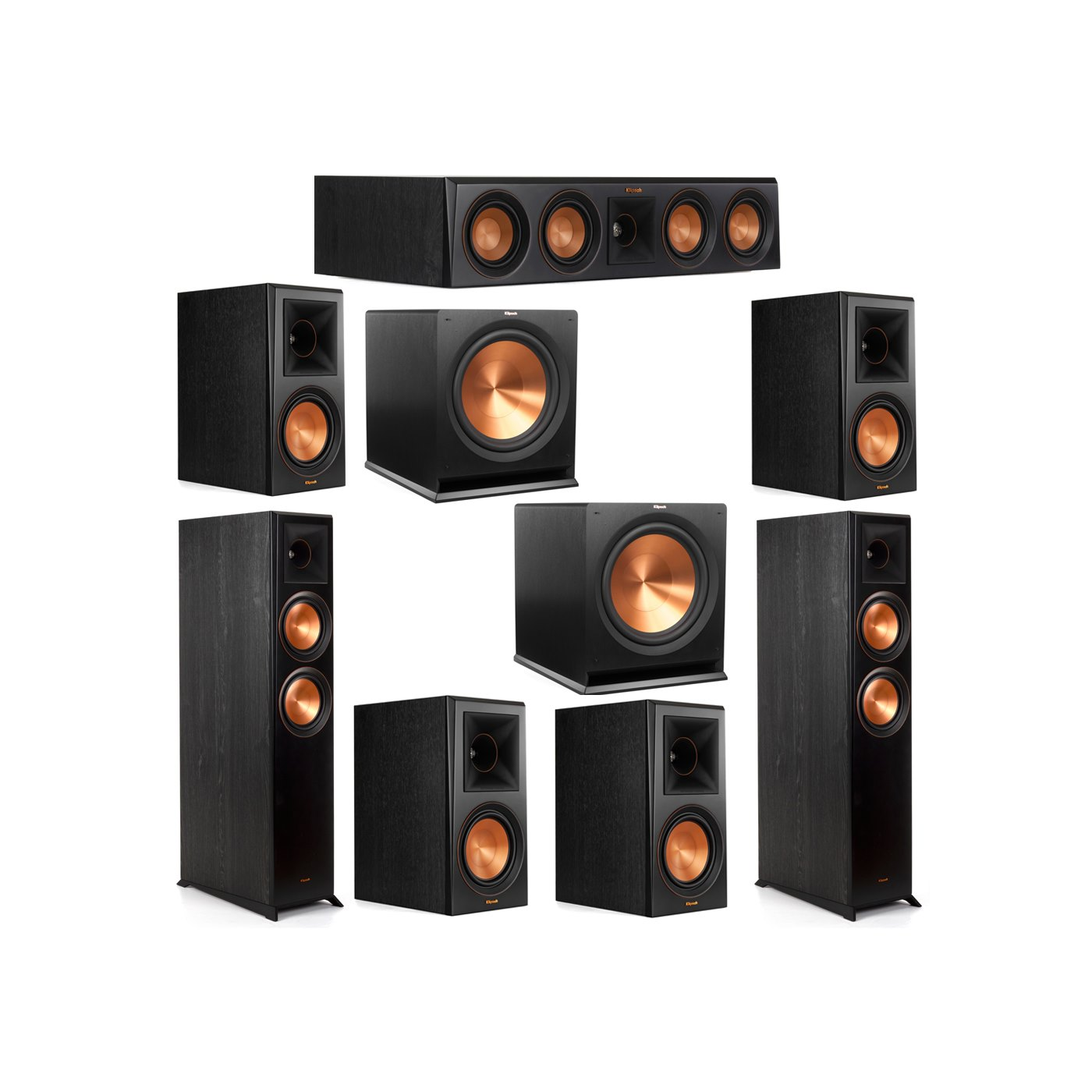 Klipsch 7.2 System with 2 RP-6000F Floorstanding Speakers, 1 Klipsch RP-404C Center Speaker, 4 Klipsch RP-600M Surround Speakers, 2 Klipsch R-115SW Subwoofers