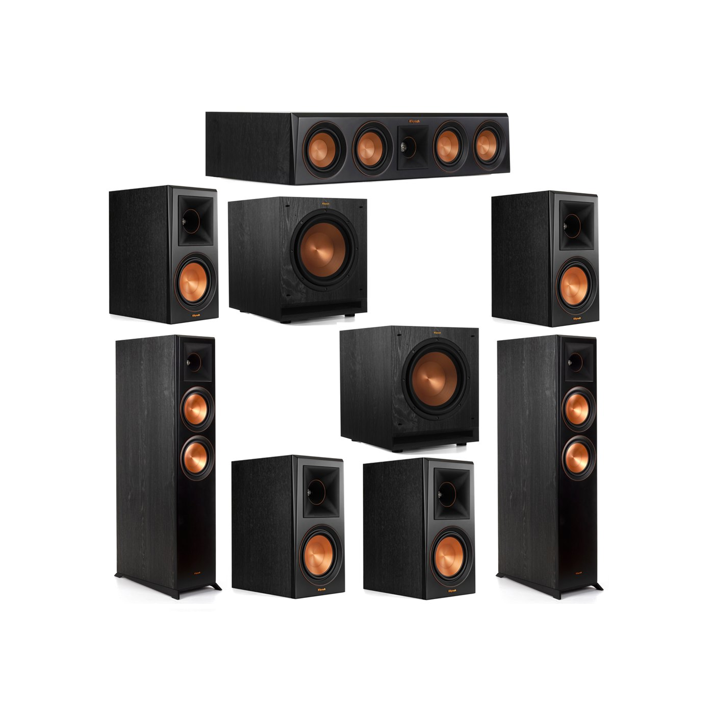Klipsch 7.2 System with 2 RP-6000F Floorstanding Speakers, 1 Klipsch RP-404C Center Speaker, 4 Klipsch RP-600M Surround Speakers, 2 Klipsch SPL-100 Subwoofers