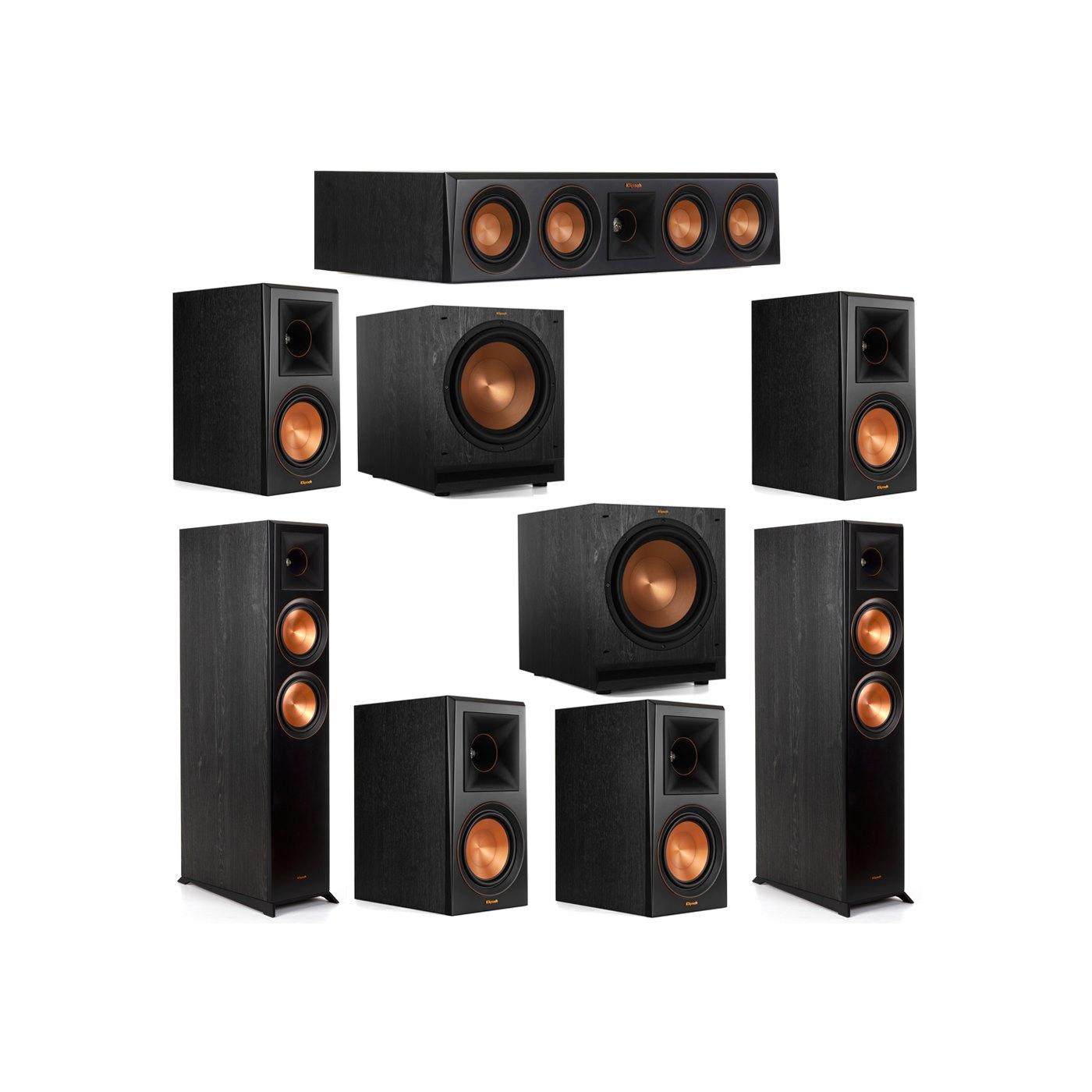 Klipsch 7.2 System with 2 RP-6000F Floorstanding Speakers, 1 Klipsch RP-404C Center Speaker, 4 Klipsch RP-600M Surround Speakers, 2 Klipsch SPL-120 Subwoofers