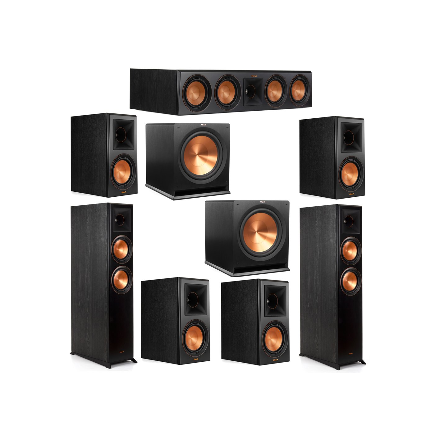 Klipsch 7.2 System with 2 RP-6000F Floorstanding Speakers, 1 Klipsch RP-504C Center Speaker, 4 Klipsch RP-600M Surround Speakers, 2 Klipsch R-115SW Subwoofers