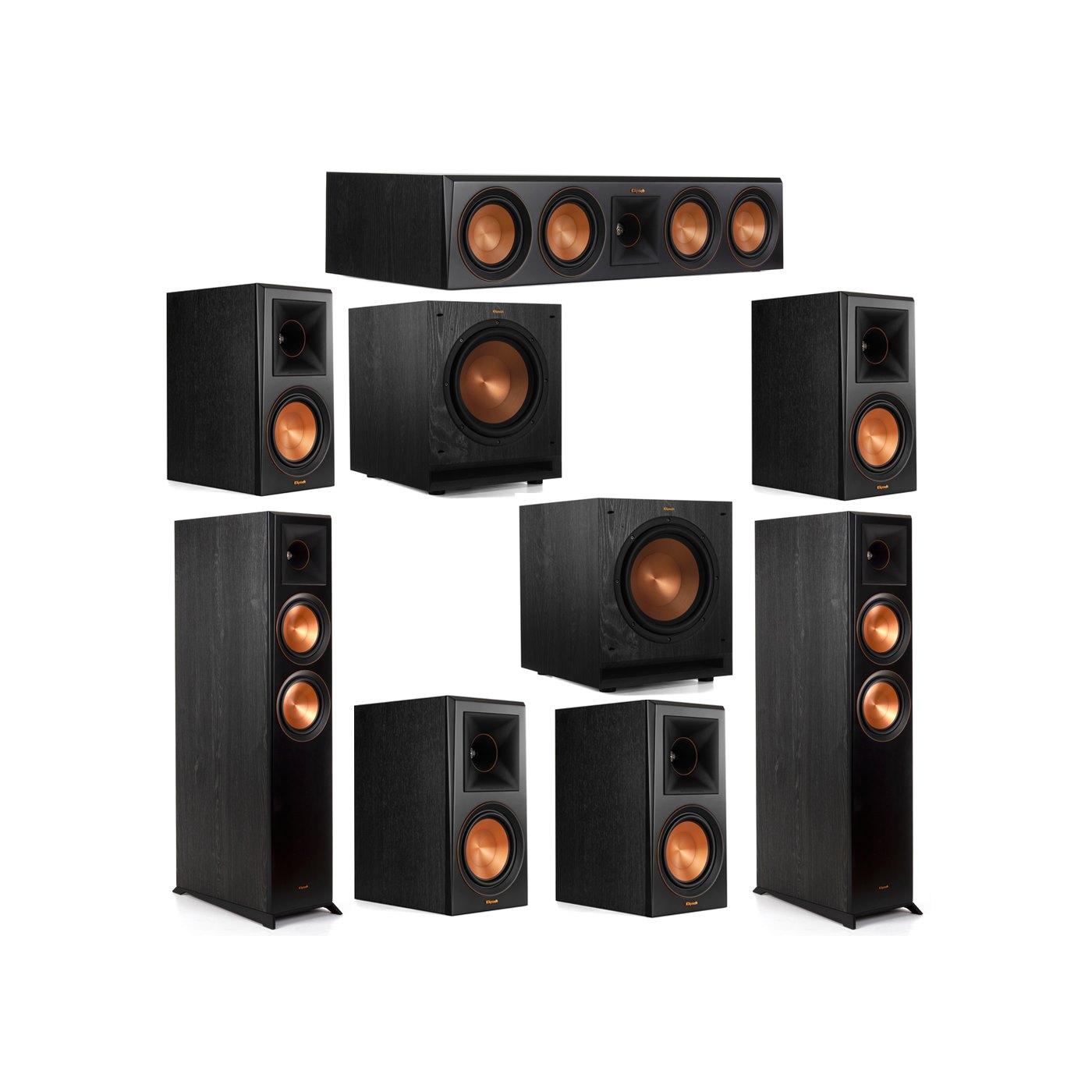 Klipsch 7.2 System with 2 RP-6000F Floorstanding Speakers, 1 Klipsch RP-504C Center Speaker, 4 Klipsch RP-600M Surround Speakers, 2 Klipsch SPL-100 Subwoofers