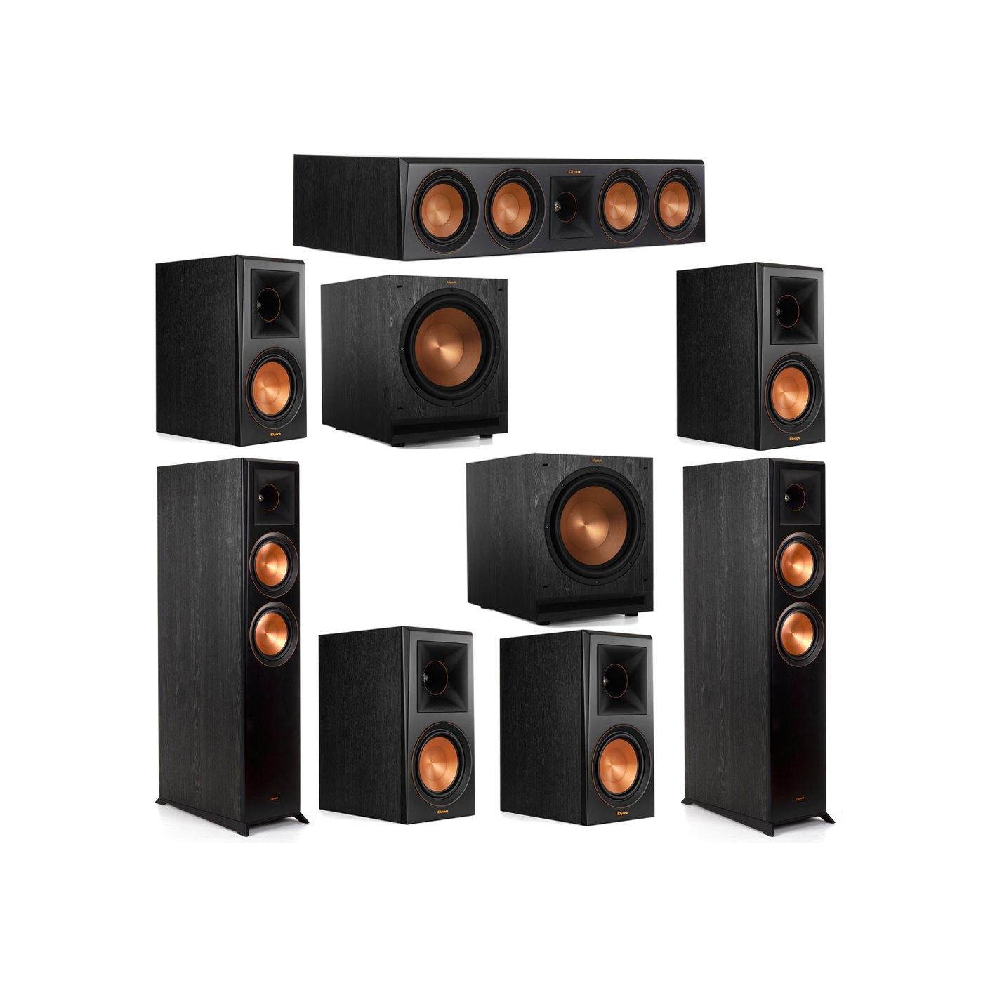 Klipsch 7.2 System with 2 RP-6000F Floorstanding Speakers, 1 Klipsch RP-504C Center Speaker, 4 Klipsch RP-600M Surround Speakers, 2 Klipsch SPL-120 Subwoofers