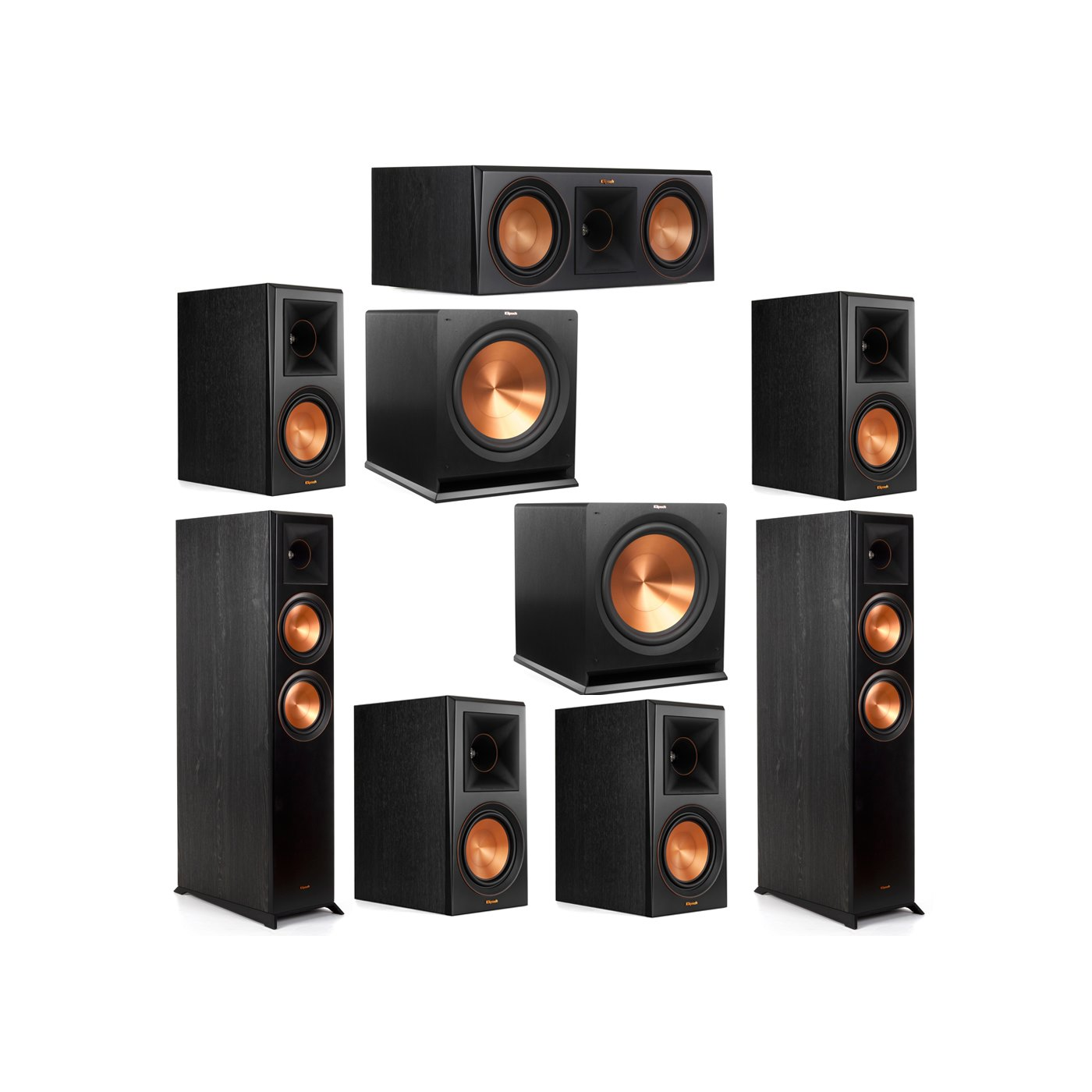 Klipsch 7.2 System with 2 RP-6000F Floorstanding Speakers, 1 Klipsch RP-600C Center Speaker, 4 Klipsch RP-600M Surround Speakers, 2 Klipsch R-115SW Subwoofers
