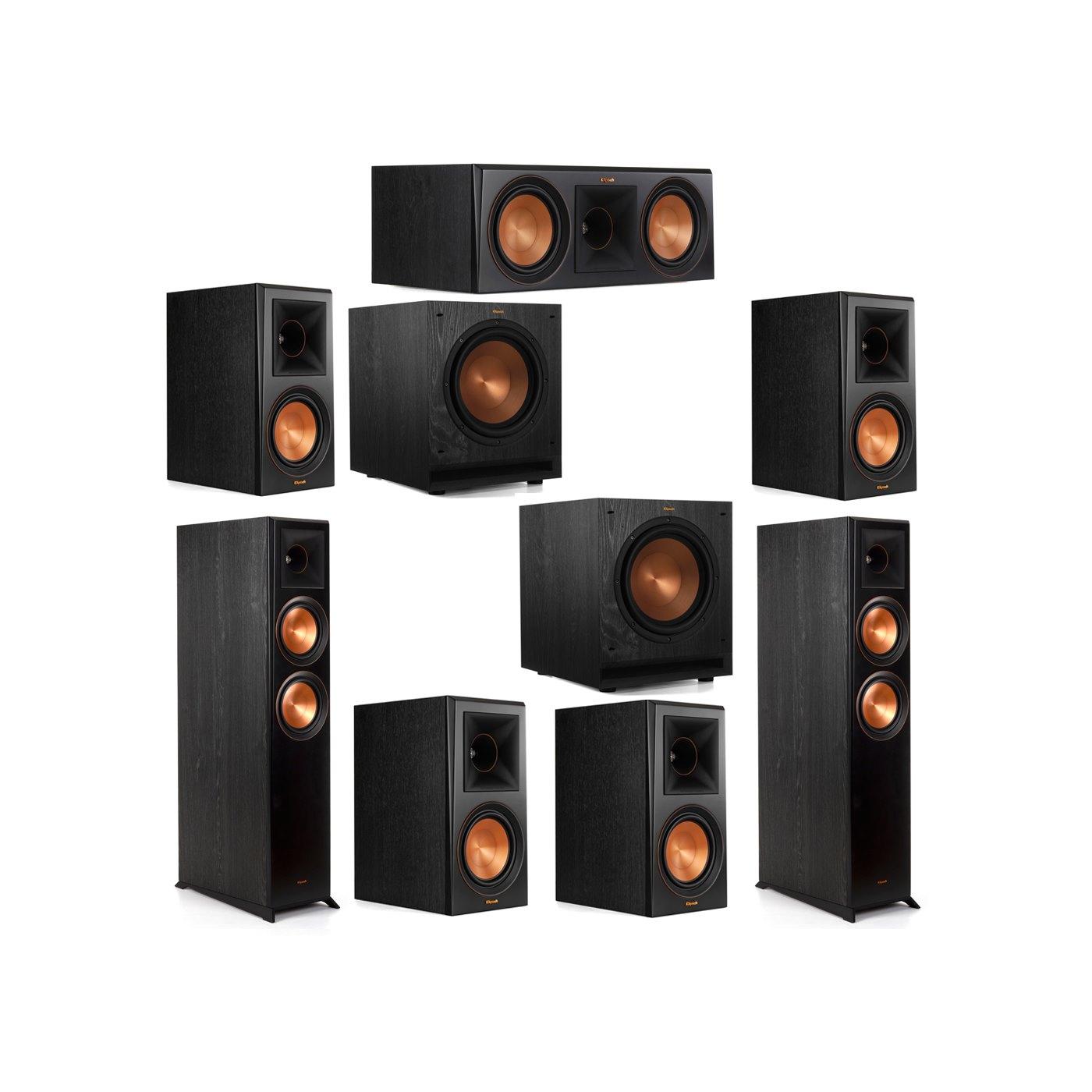 Klipsch 7.2 System with 2 RP-6000F Floorstanding Speakers, 1 Klipsch RP-600C Center Speaker, 4 Klipsch RP-600M Surround Speakers, 2 Klipsch SPL-100 Subwoofers