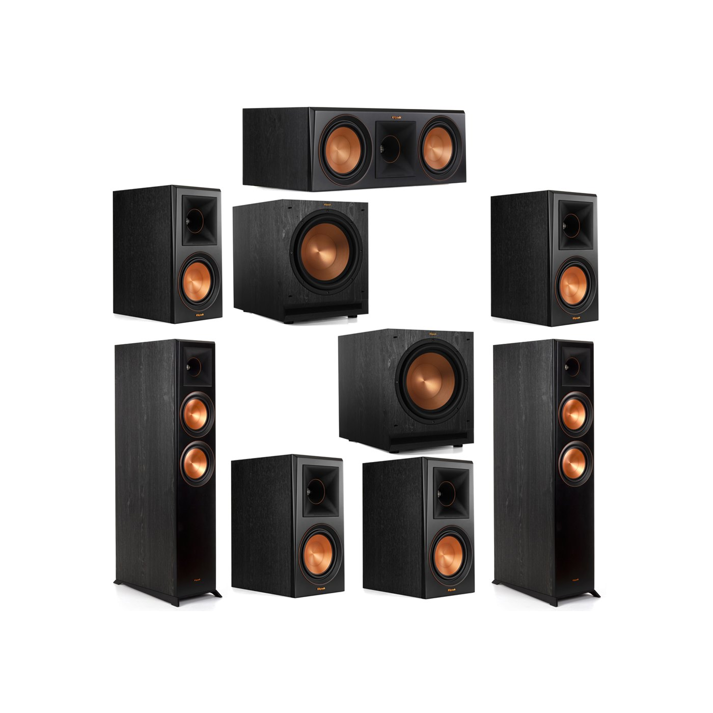 Klipsch 7.2 System with 2 RP-6000F Floorstanding Speakers, 1 Klipsch RP-600C Center Speaker, 4 Klipsch RP-600M Surround Speakers, 2 Klipsch SPL-120 Subwoofers