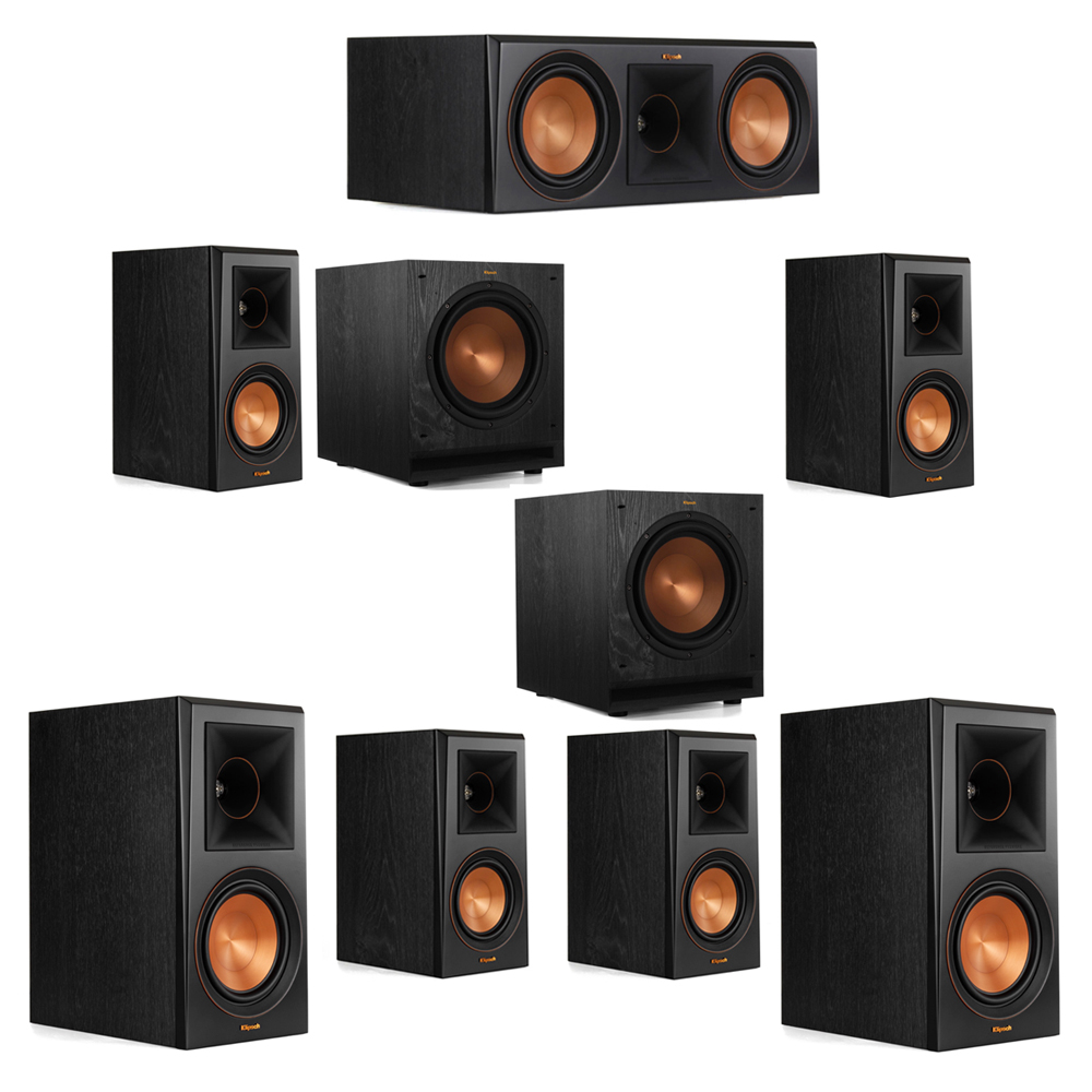 Klipsch 7.2 System with 2 RP-600M Bookshelf Speakers, 1 Klipsch RP-600C Center Speaker, 4 Klipsch RP-500M Surround Speakers, 2 Klipsch SPL-100 Subwoofers