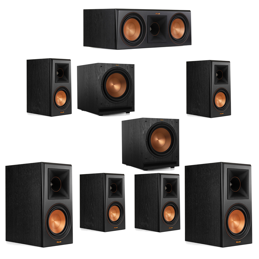 Klipsch 7.2 System with 2 RP-600M Bookshelf Speakers, 1 Klipsch RP-600C Center Speaker, 4 Klipsch RP-500M Surround Speakers, 2 Klipsch SPL-120 Subwoofers