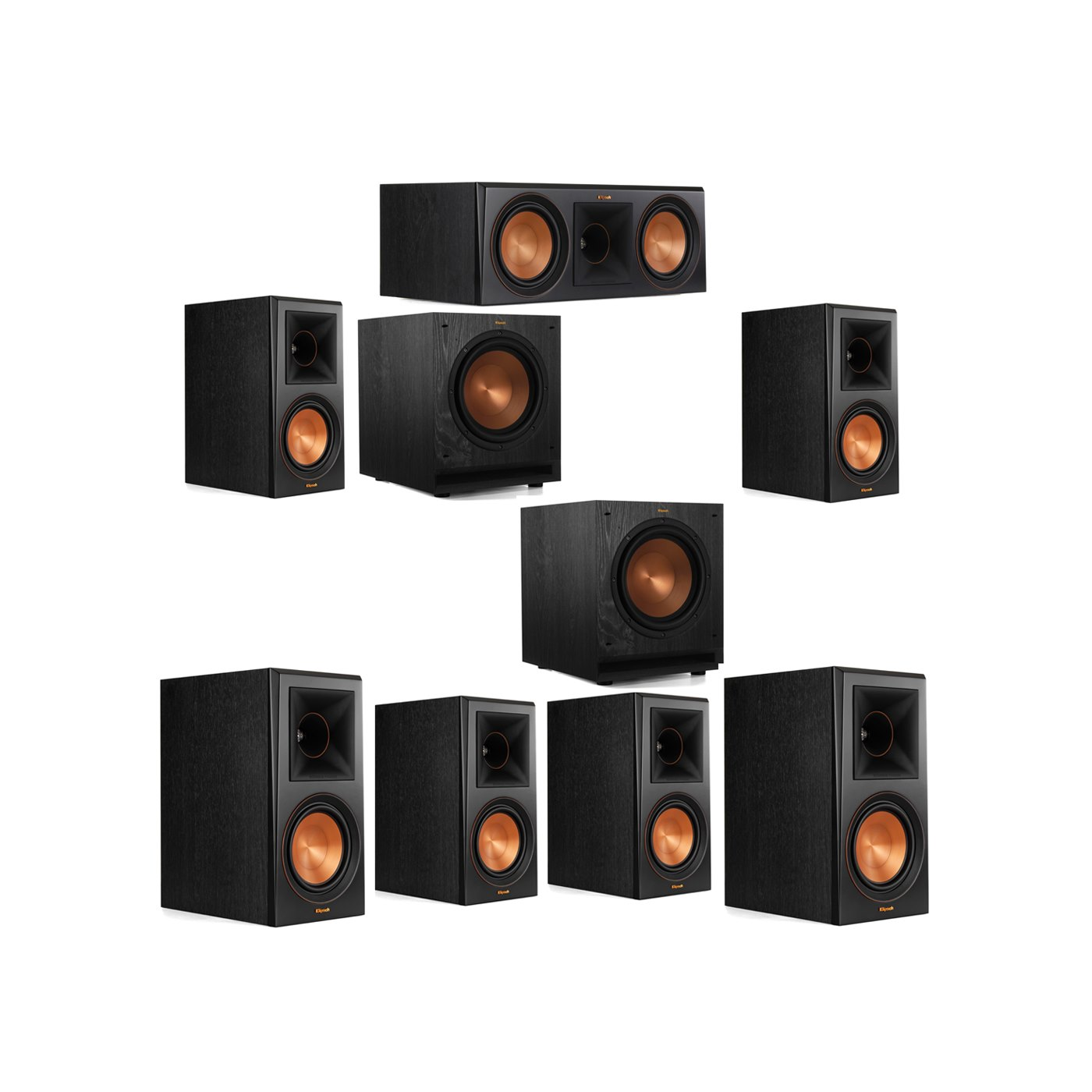 Klipsch 7.2 System with 2 RP-600M Bookshelf Speakers, 1 Klipsch RP-600C Center Speaker, 4 Klipsch RP-600M Surround Speakers, 2 Klipsch SPL-100 Subwoofers