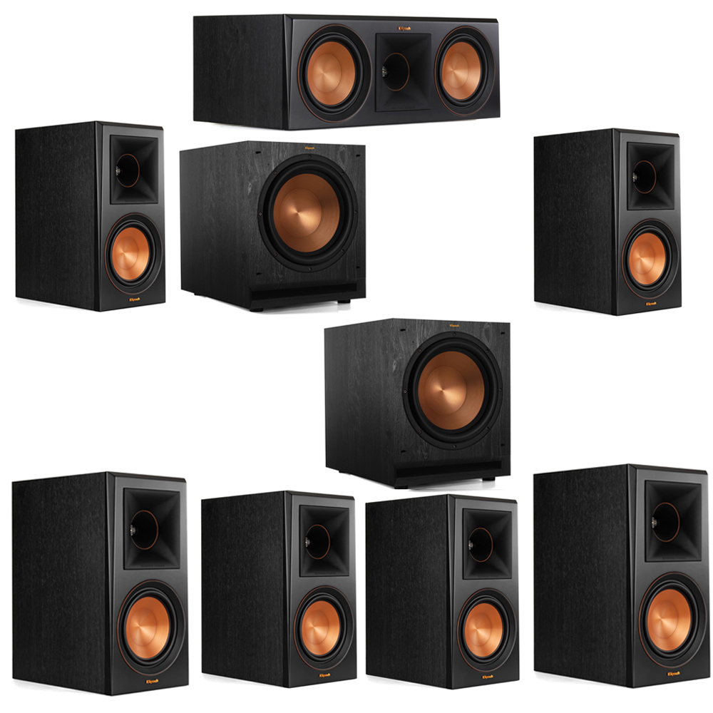 Klipsch 7.2 System with 2 RP-600M Bookshelf Speakers, 1 Klipsch RP-600C Center Speaker, 4 Klipsch RP-600M Surround Speakers, 2 Klipsch SPL-120 Subwoofers