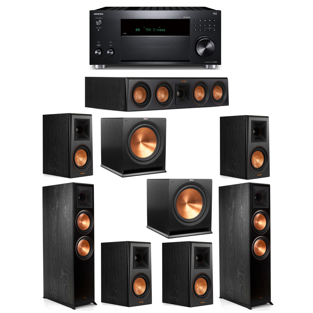 Klipsch 7.2 System with 2 RP-8000F, 1 RP-404C, 4 RP-500M, 2 R-115SW, 1 Onkyo TX-RZ830 Receiver
