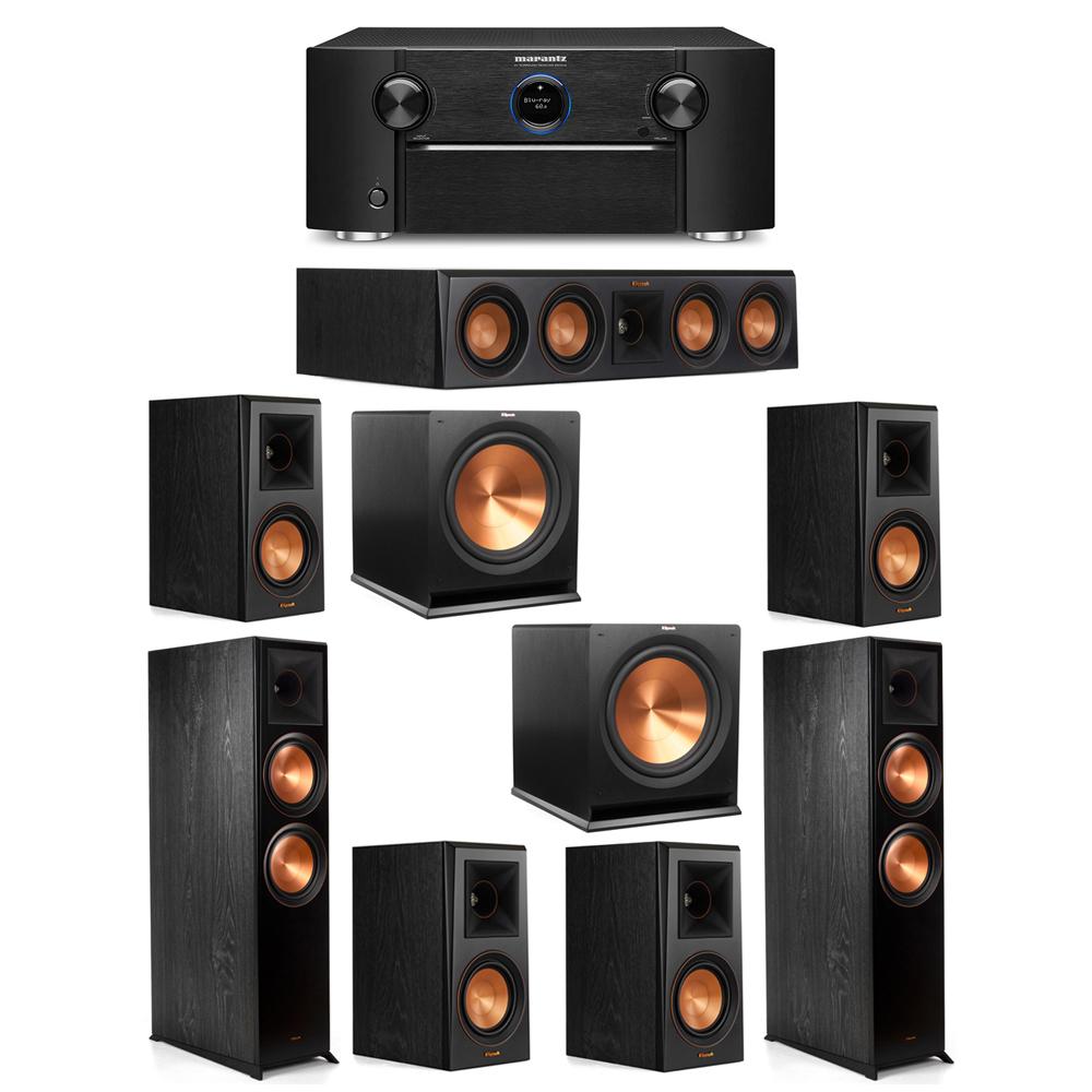 Klipsch 7.2 System with 2 RP-8000F Floorstanding Speakers, 1 Klipsch RP-404C Center Speaker, 4 Klipsch RP-500M Surround Speakers, 2 Klipsch R-115SW Subwoofers, 1 Marantz SR7012 A/V Receiver