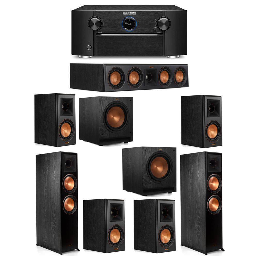 Klipsch 7.2 System with 2 RP-8000F Floorstanding Speakers, 1 Klipsch RP-404C Center Speaker, 4 Klipsch RP-500M Surround Speakers, 2 Klipsch SPL-100 Subwoofers, 1 Marantz SR7012 A/V Receiver