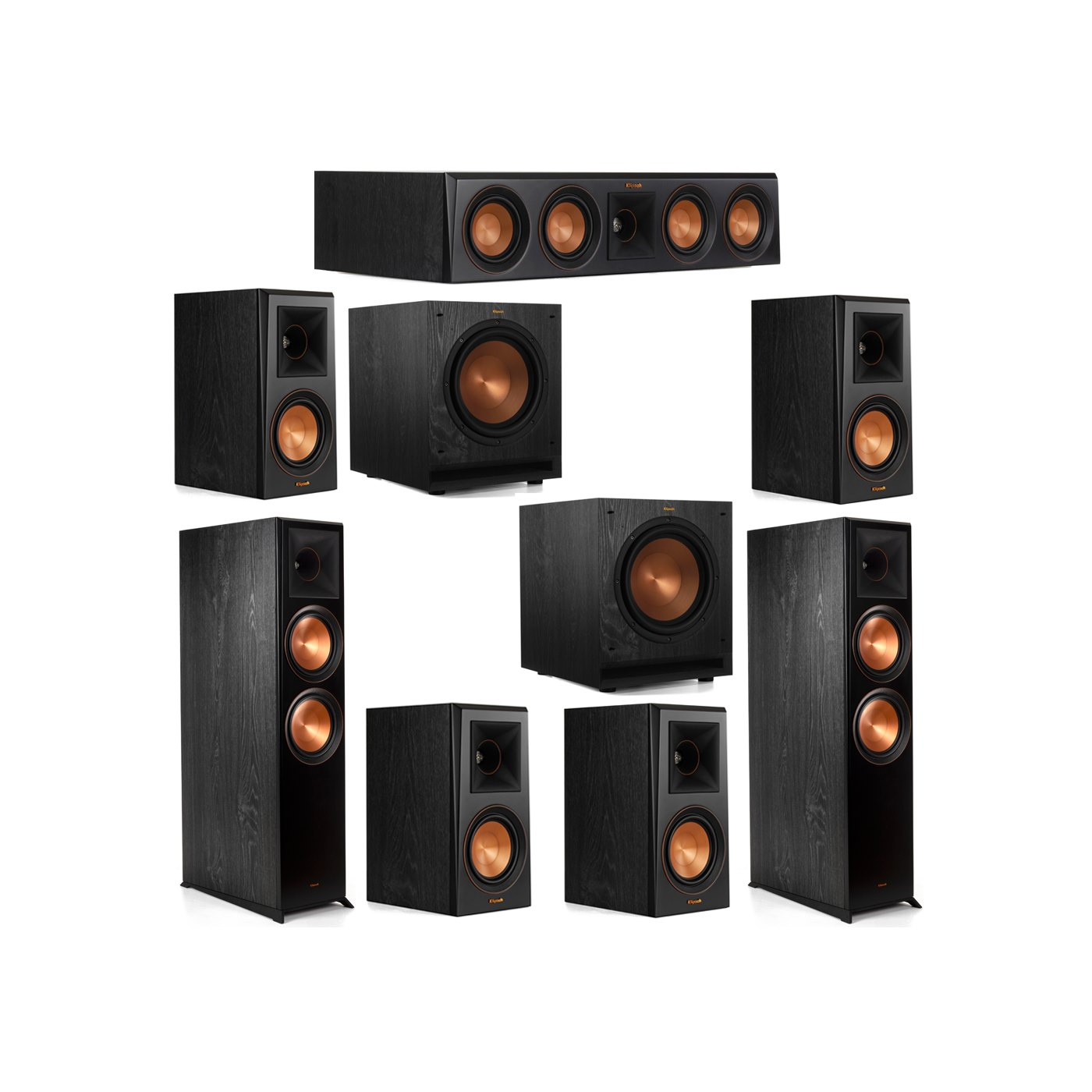 Klipsch 7.2 System with 2 RP-8000F Floorstanding Speakers, 1 Klipsch RP-404C Center Speaker, 4 Klipsch RP-500M Surround Speakers, 2 Klipsch SPL-100 Subwoofers