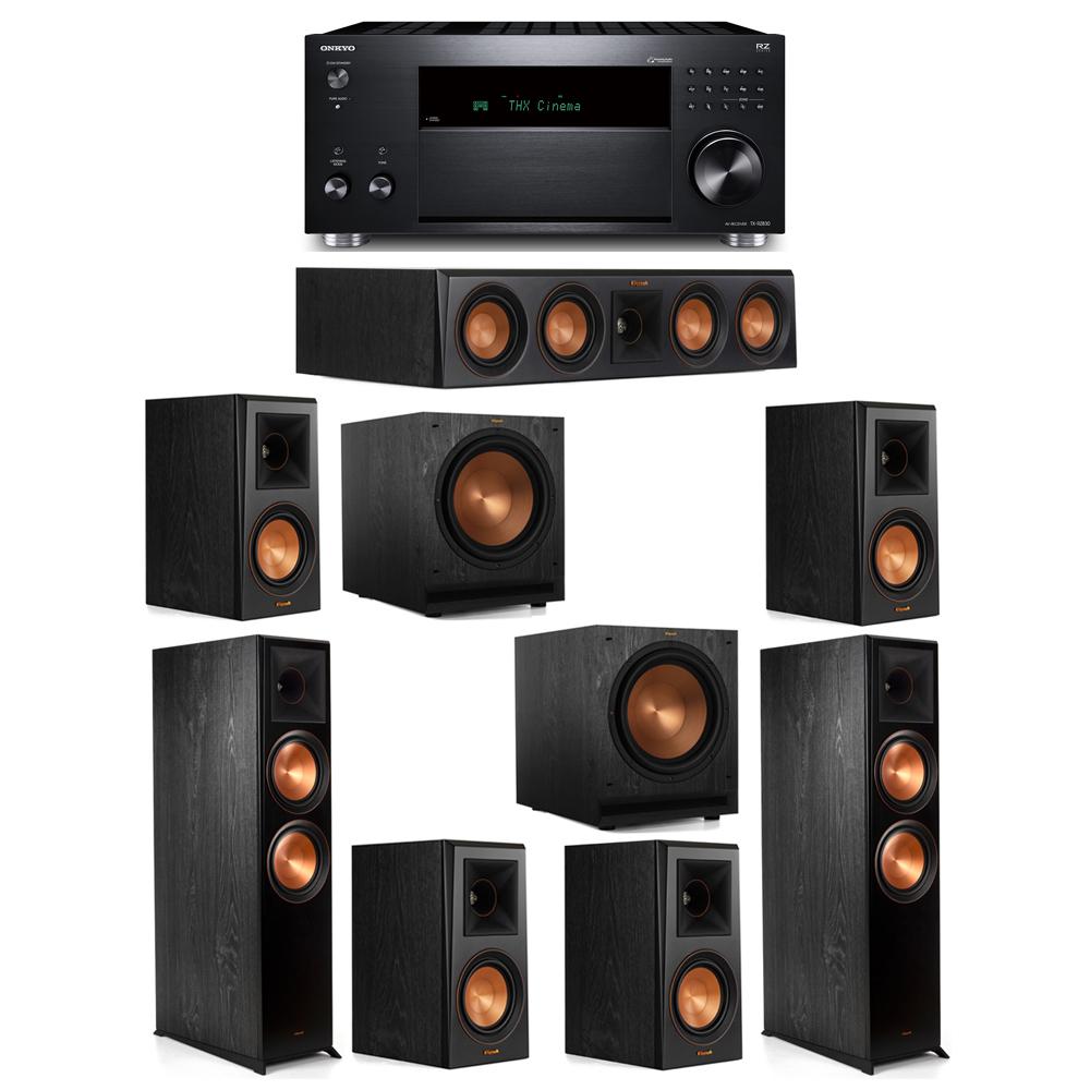 Klipsch 7.2 System with 2 RP-8000F, 1 RP-404C, 4 RP-500M, 2 SPL-120, 1 Onkyo TX-RZ830 Receiver