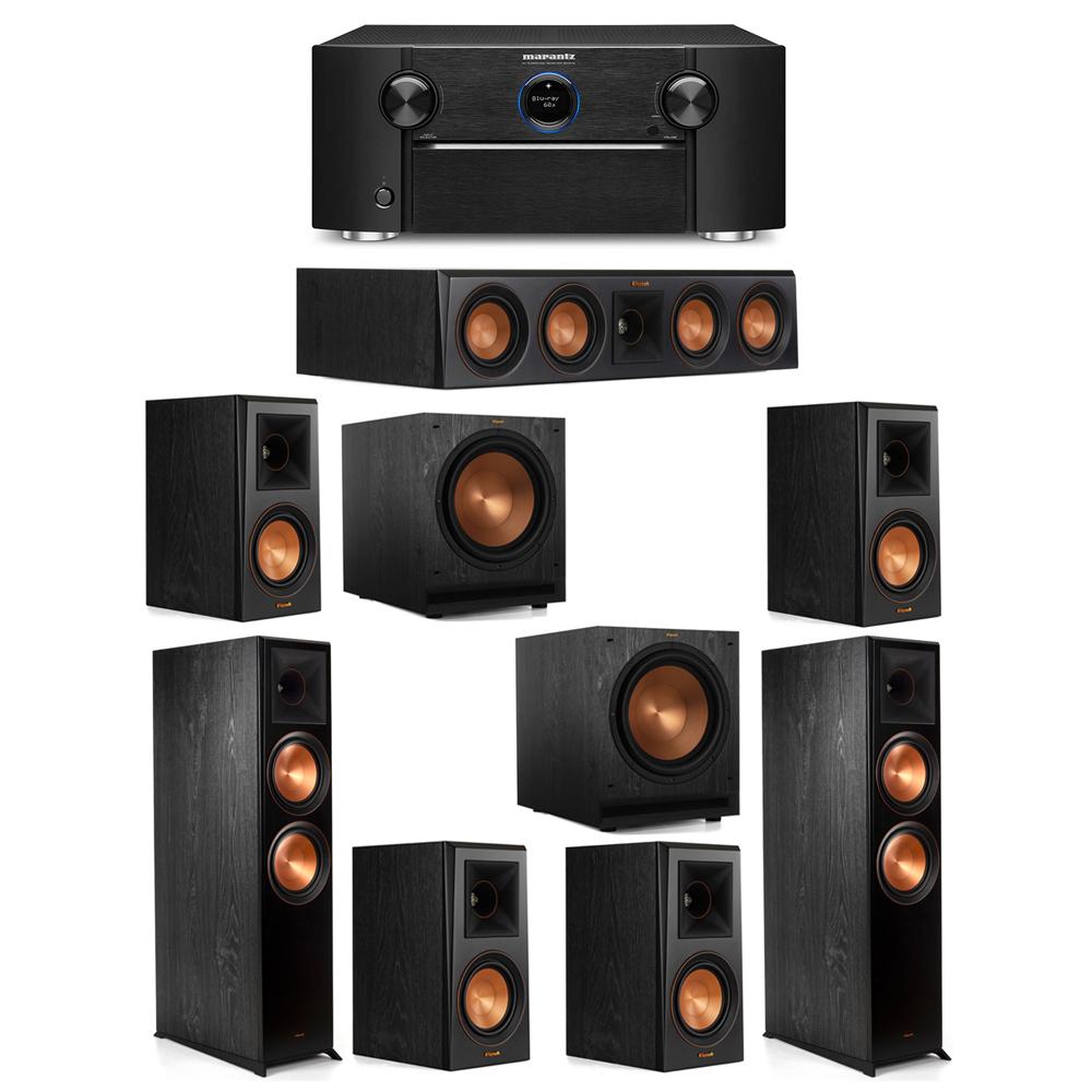 Klipsch 7.2 System with 2 RP-8000F Floorstanding Speakers, 1 Klipsch RP-404C Center Speaker, 4 Klipsch RP-500M Surround Speakers, 2 Klipsch SPL-120 Subwoofers, 1 Marantz SR7012 A/V Receiver