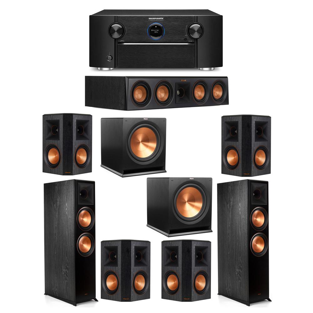 Klipsch 7.2 System with 2 RP-8000F Floorstanding Speakers, 1 Klipsch RP-404C Center Speaker, 4 Klipsch RP-502S Surround Speakers, 2 Klipsch R-115SW Subwoofers, 1 Marantz SR7012 A/V Receiver
