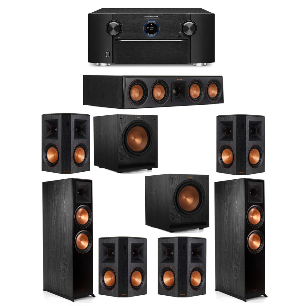 Klipsch 7.2 System with 2 RP-8000F Floorstanding Speakers, 1 Klipsch RP-404C Center Speaker, 4 Klipsch RP-502S Surround Speakers, 2 Klipsch SPL-100 Subwoofers, 1 Marantz SR7012 A/V Receiver